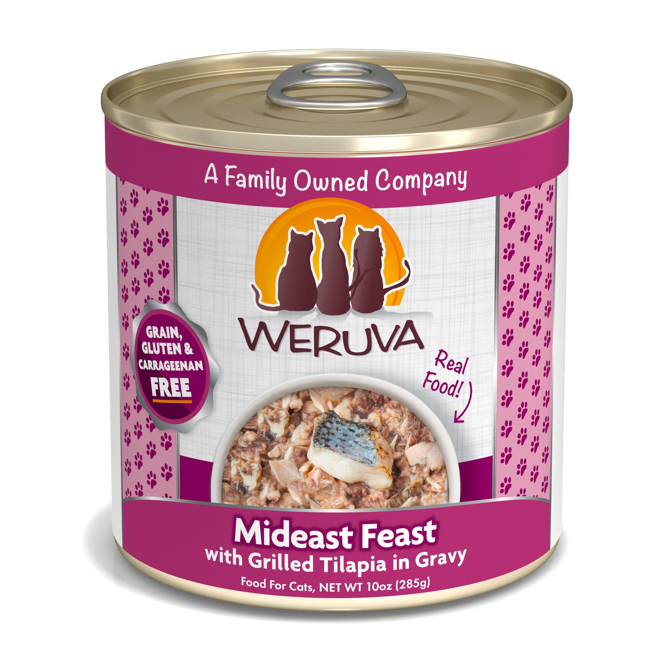 Weruva Cat Classic Mideast Feast with Grilled Tilapia in Gravy Grain-Free Wet Cat Food, 10-oz