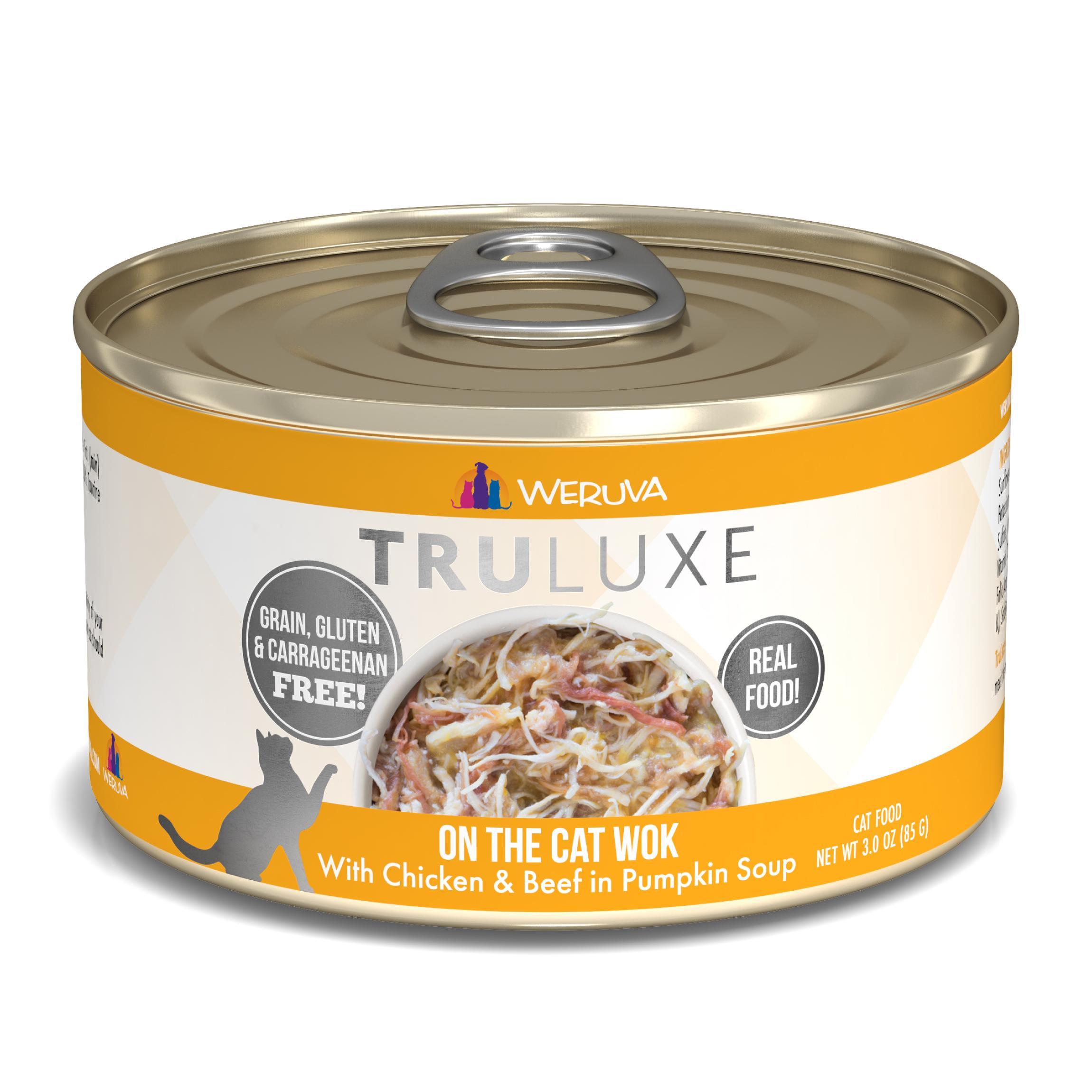 Weruva Cat Truluxe On The Cat Wok with Chicken & Beef in Pumpkin Soup Grain-Free Wet Cat Food, 3-oz