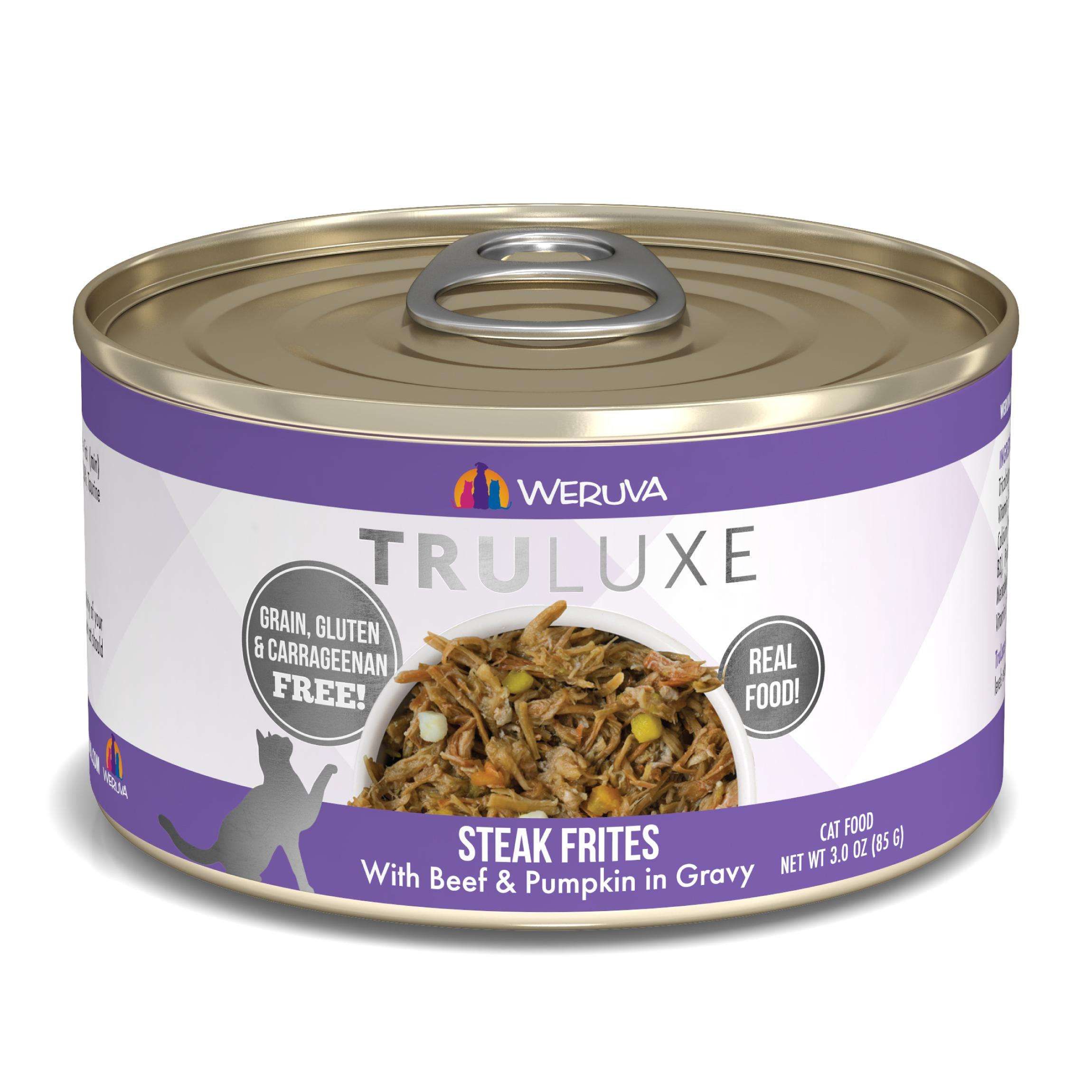 Weruva Cat Truluxe Steak Frites with Beef & Pumpkin in Gravy Grain-Free Wet Cat Food, 3-oz