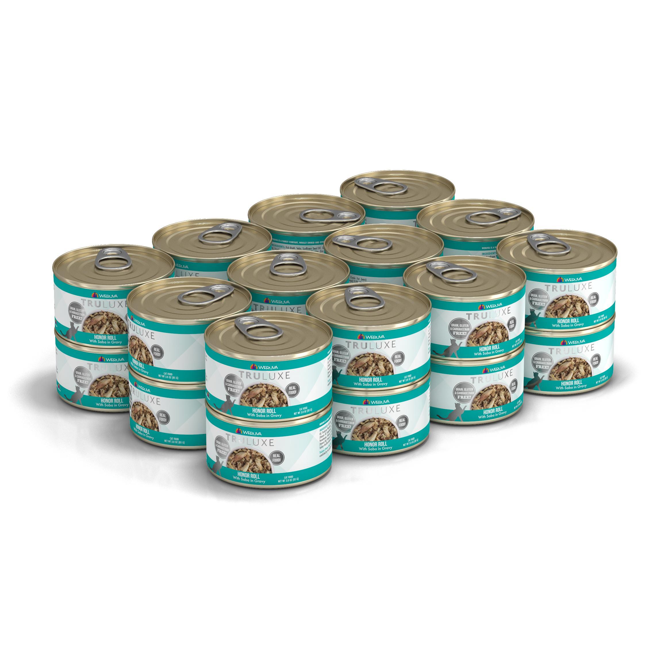 Weruva Cat Truluxe Honor Roll with Saba in Gravy Grain-Free Wet Cat Food, 3-oz, case of 24