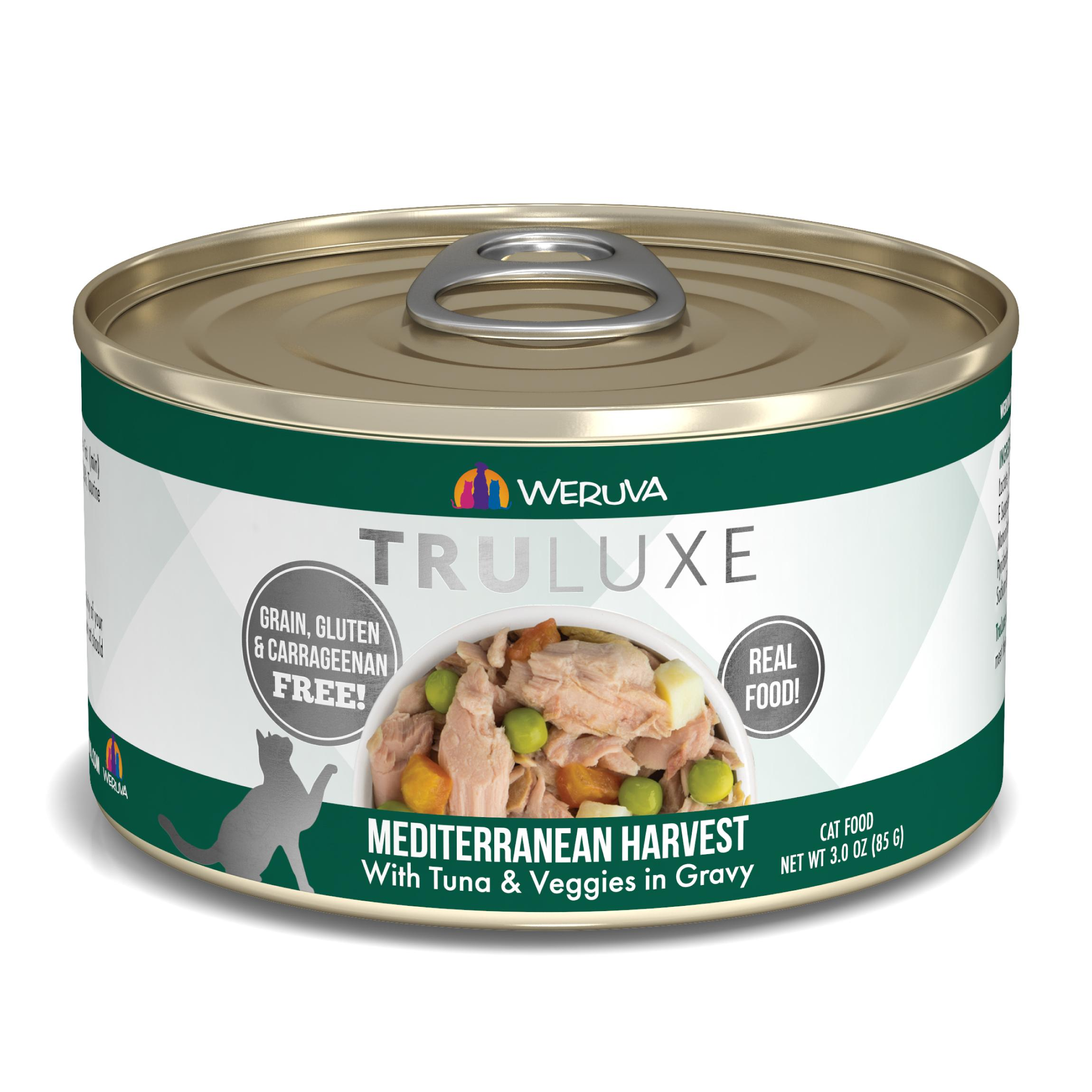 Weruva Cat Truluxe Mediterranean Harvest with Tuna & Veggies in Gravy Grain-Free Wet Cat Food, 3-oz