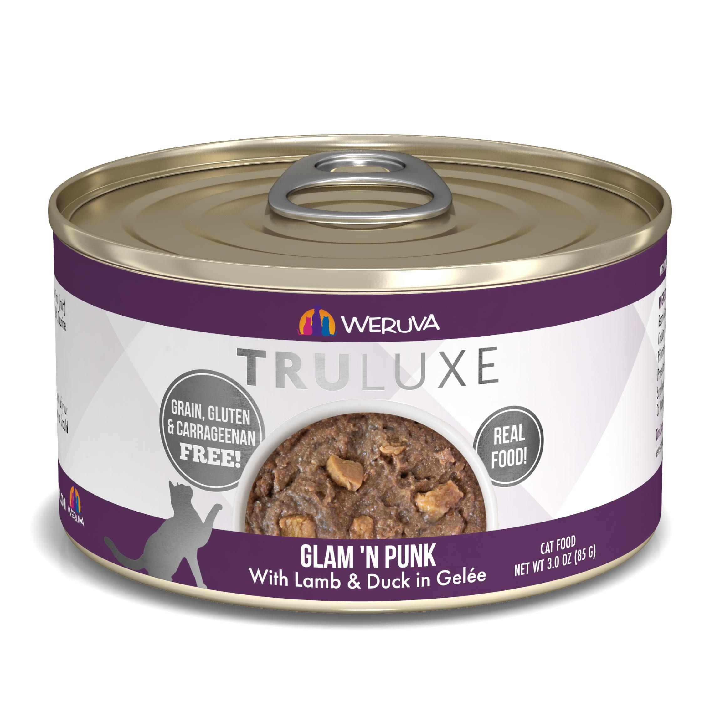 Weruva Cat Truluxe Glam 'N Punk with Lamb & Duck in Gelee Grain-Free Wet Cat Food, 3-oz