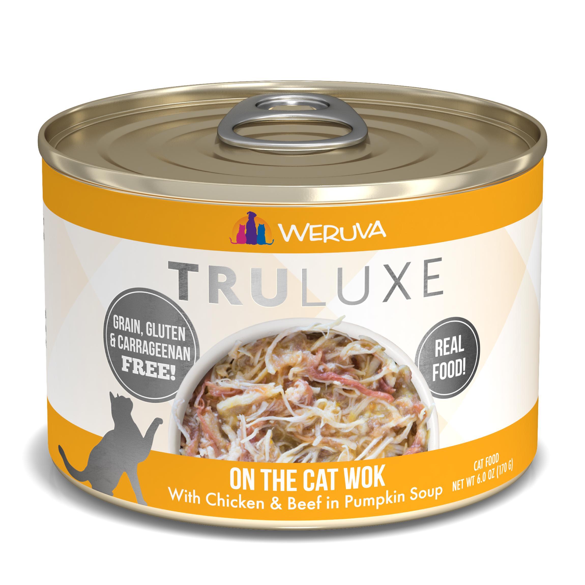 Weruva Cat Truluxe On The Cat Wok with Chicken & Beef in Pumpkin Soup Grain-Free Wet Cat Food, 6-oz
