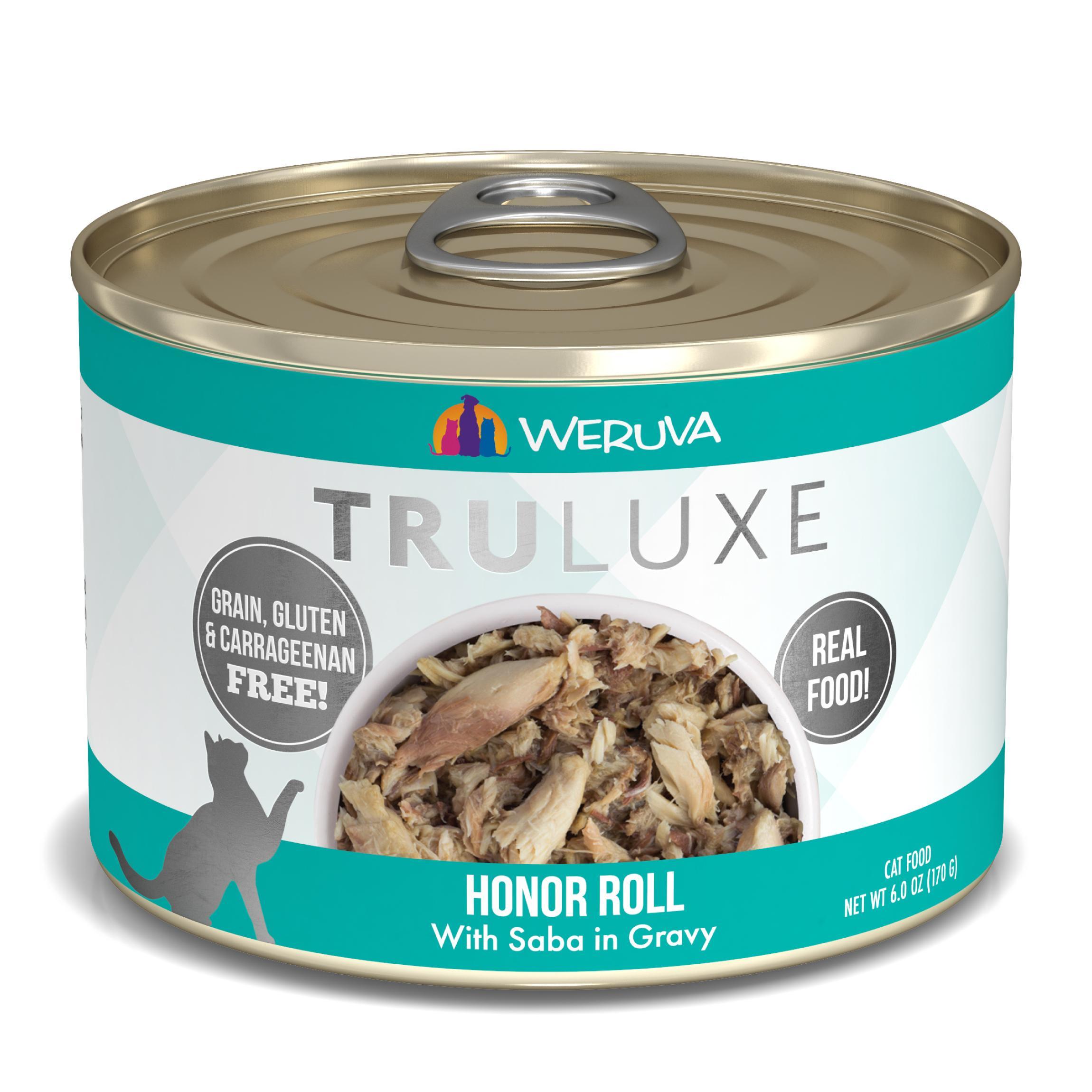 Weruva Cat Truluxe Honor Roll with Saba in Gravy Grain-Free Wet Cat Food, 6-oz