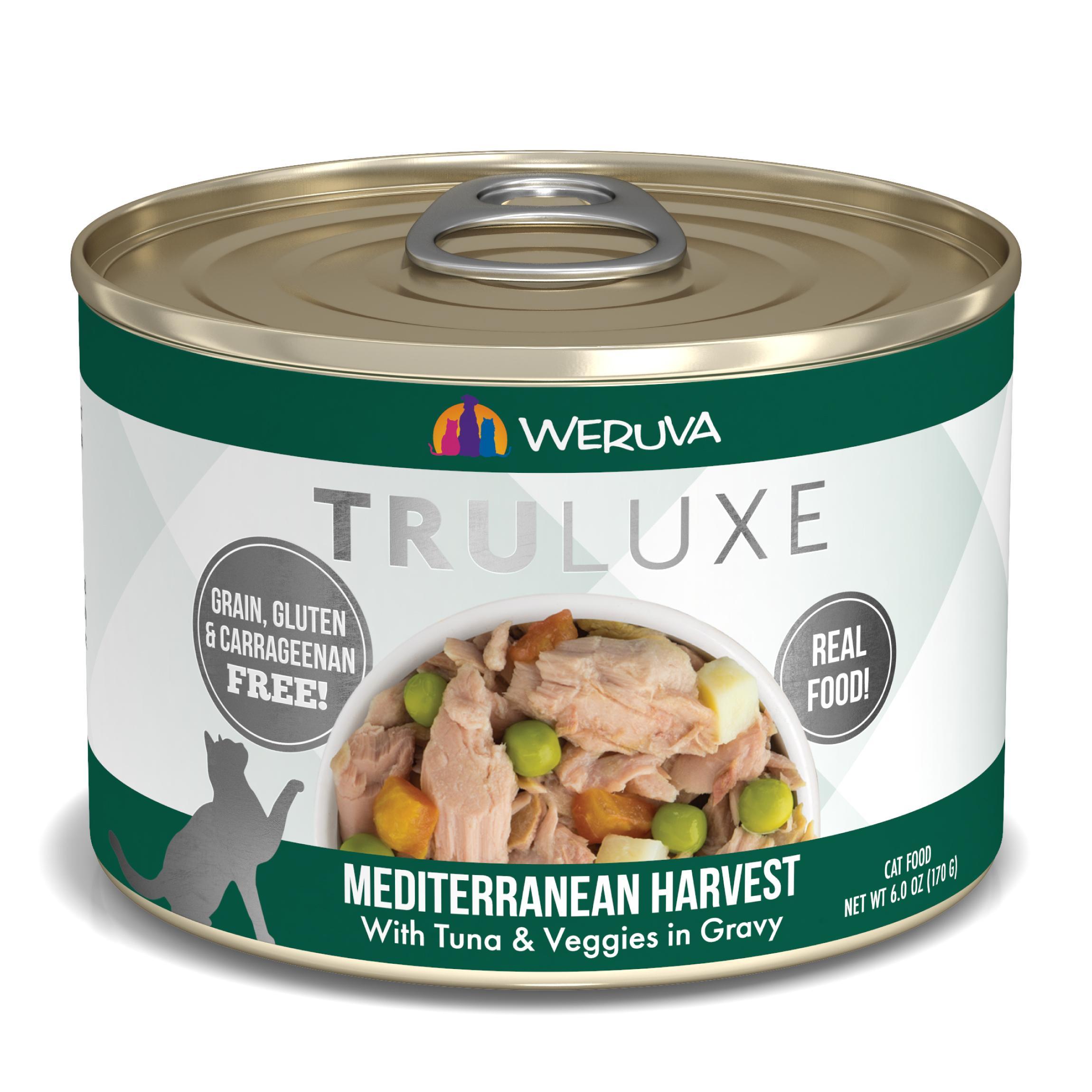 Weruva Cat Truluxe Mediterranean Harvest with Tuna & Veggies in Gravy Grain-Free Wet Cat Food, 6-oz