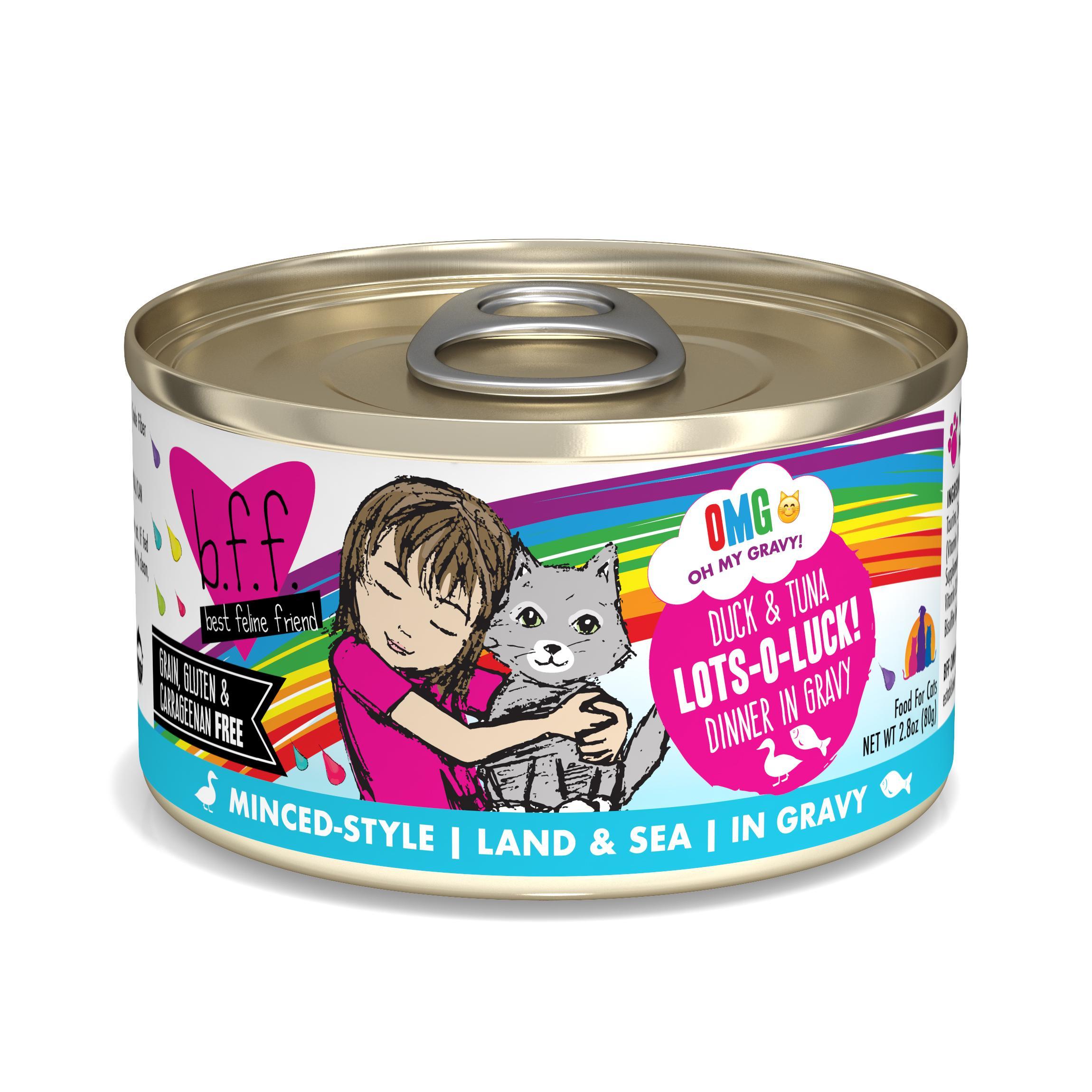 BFF Oh My Gravy! Lots-O-Luck! Duck & Tuna Dinner in Gravy Grain-Free Wet Cat Food, 2.8-oz
