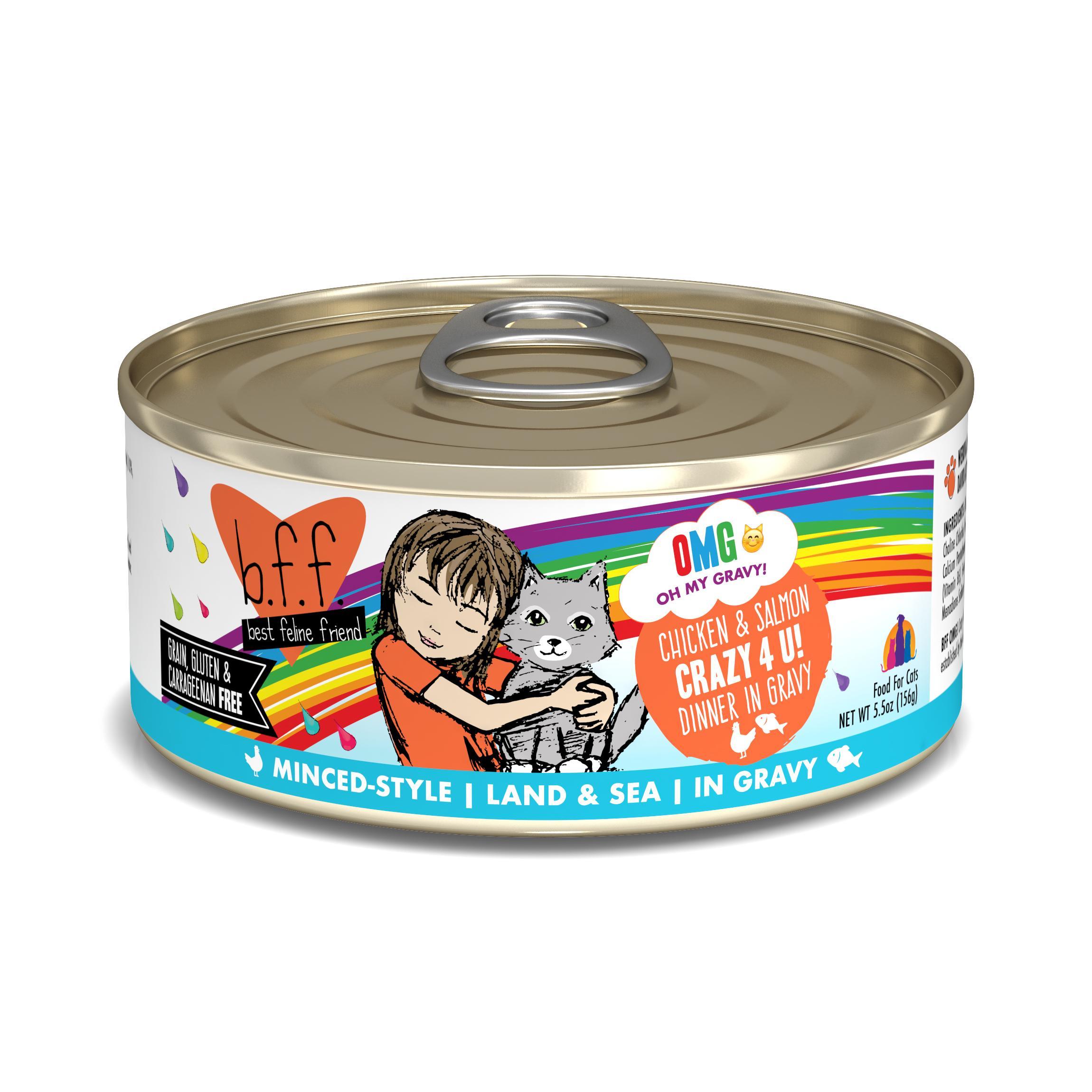 BFF Oh My Gravy! Crazy 4 U! Chicken & Salmon Dinner in Gravy Grain-Free Wet Cat Food, 5.5-oz