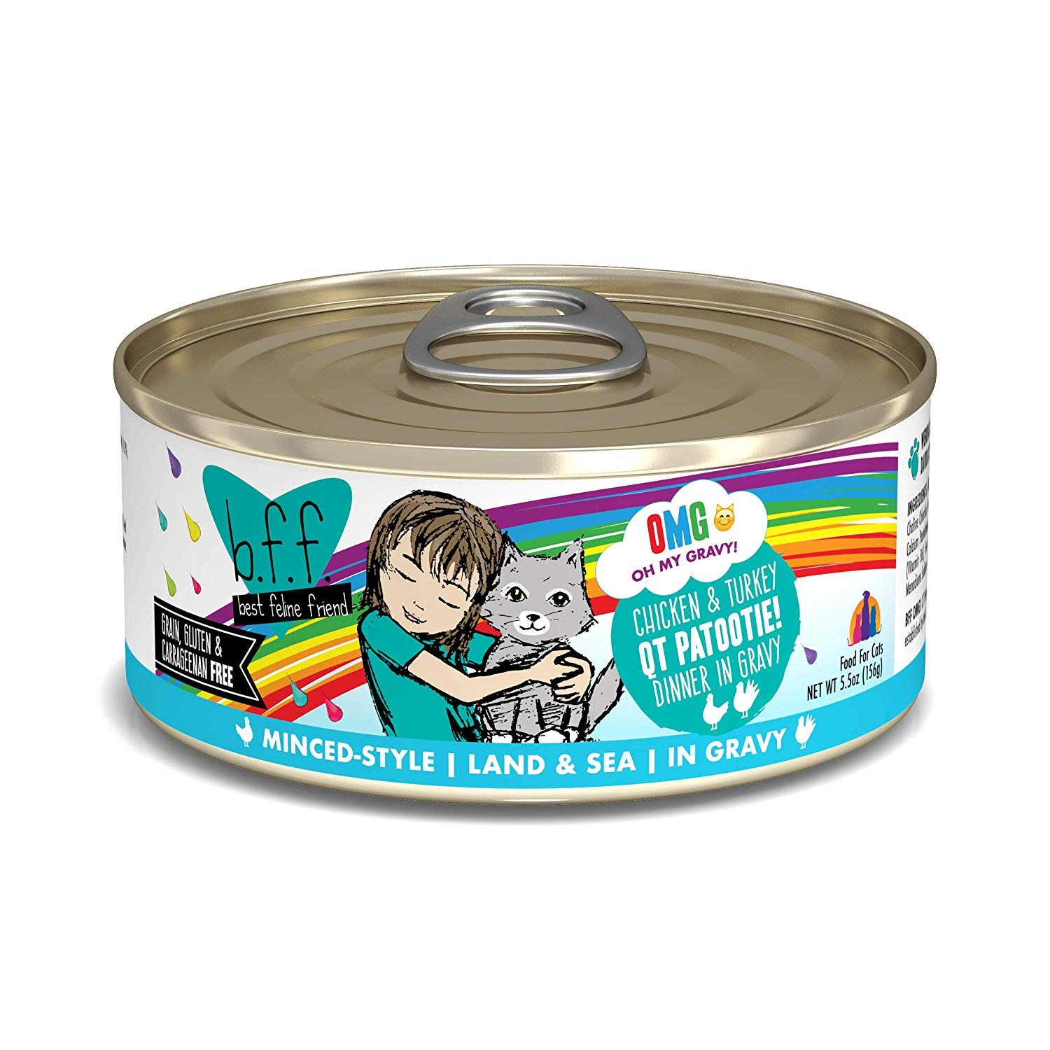 BFF Oh My Gravy! QT Patootie! Chicken & Turkey Dinner in Gravy Grain-Free Wet Cat Food, 5.5-oz