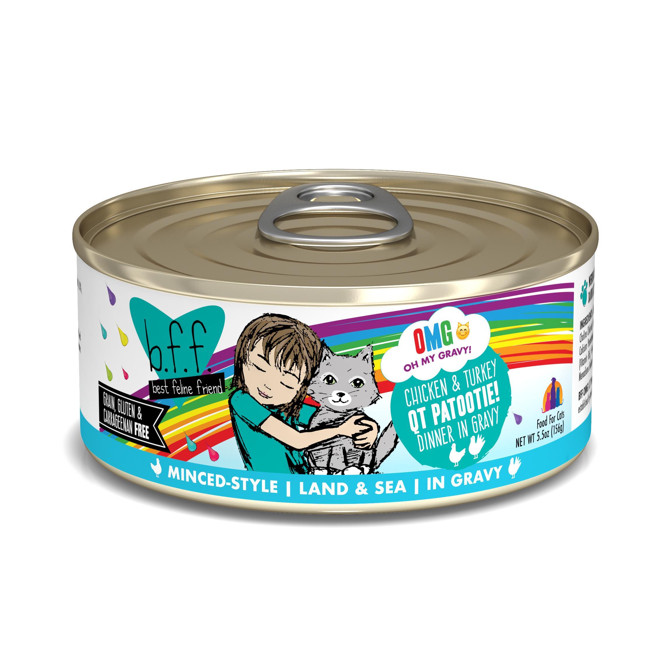 BFF Oh My Gravy! QT Patootie! Chicken & Turkey Dinner in Gravy Grain-Free Wet Cat Food, 5.5-oz