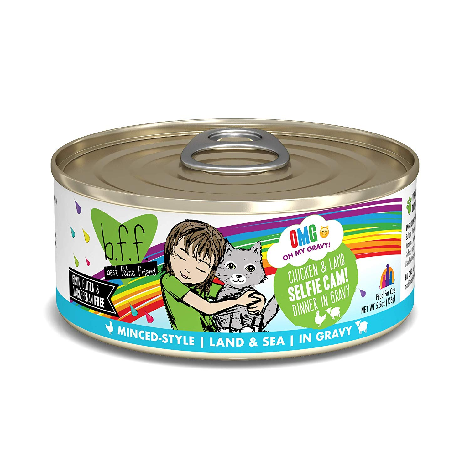 BFF Oh My Gravy! Selfie Cam! Chicken & Lamb Dinner in Gravy Grain-Free Wet Cat Food, 5.5-oz