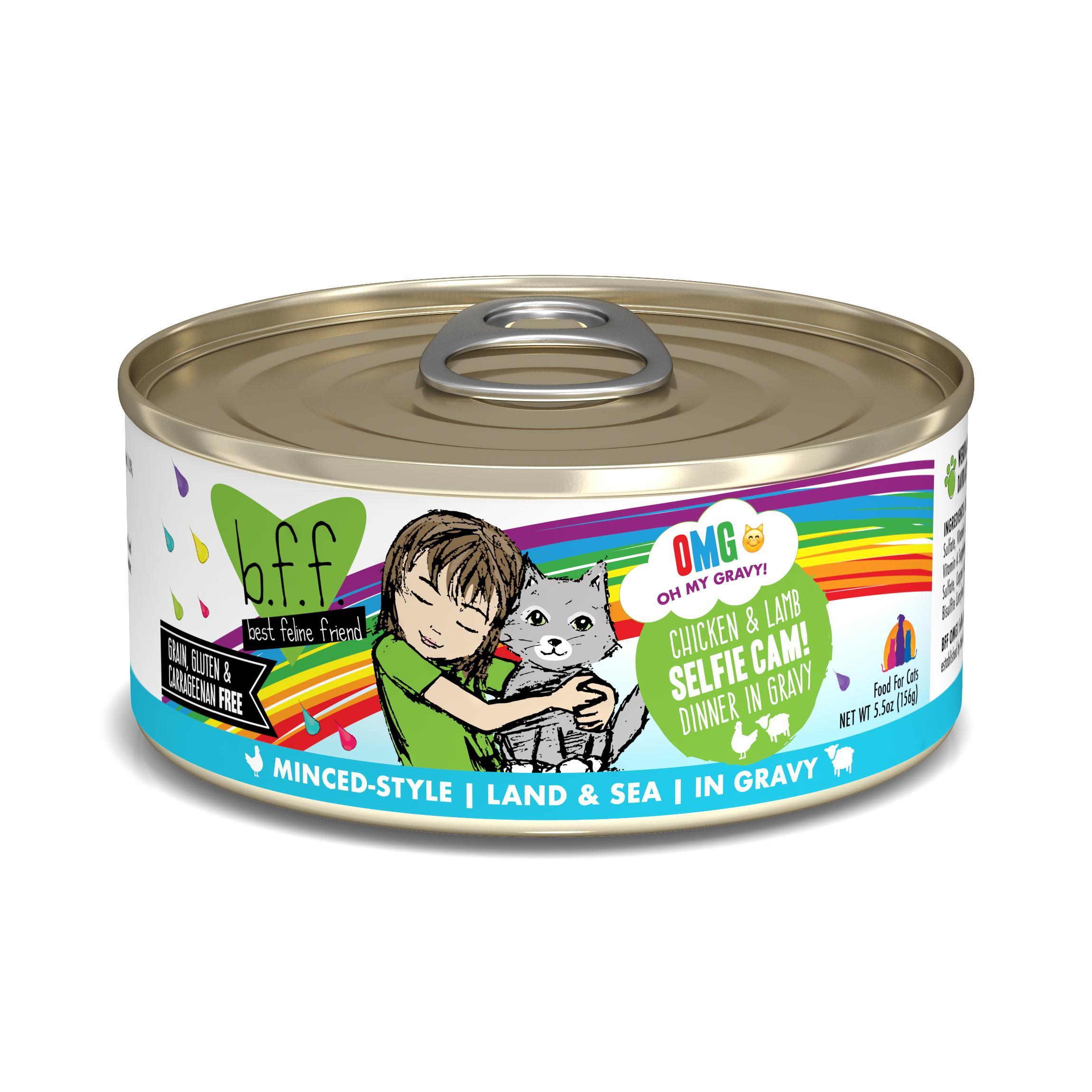 BFF Oh My Gravy! Selfie Cam! Chicken & Lamb Dinner in Gravy Grain-Free Wet Cat Food, 5.5-oz