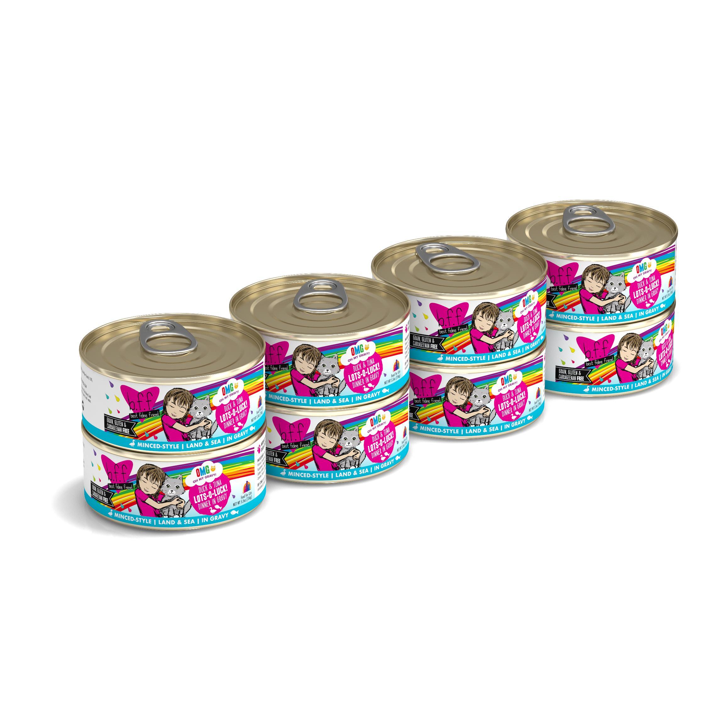 BFF Oh My Gravy! Lots-O-Luck! Duck & Tuna Dinner in Gravy Grain-Free Wet Cat Food, 5.5-oz, case of 8