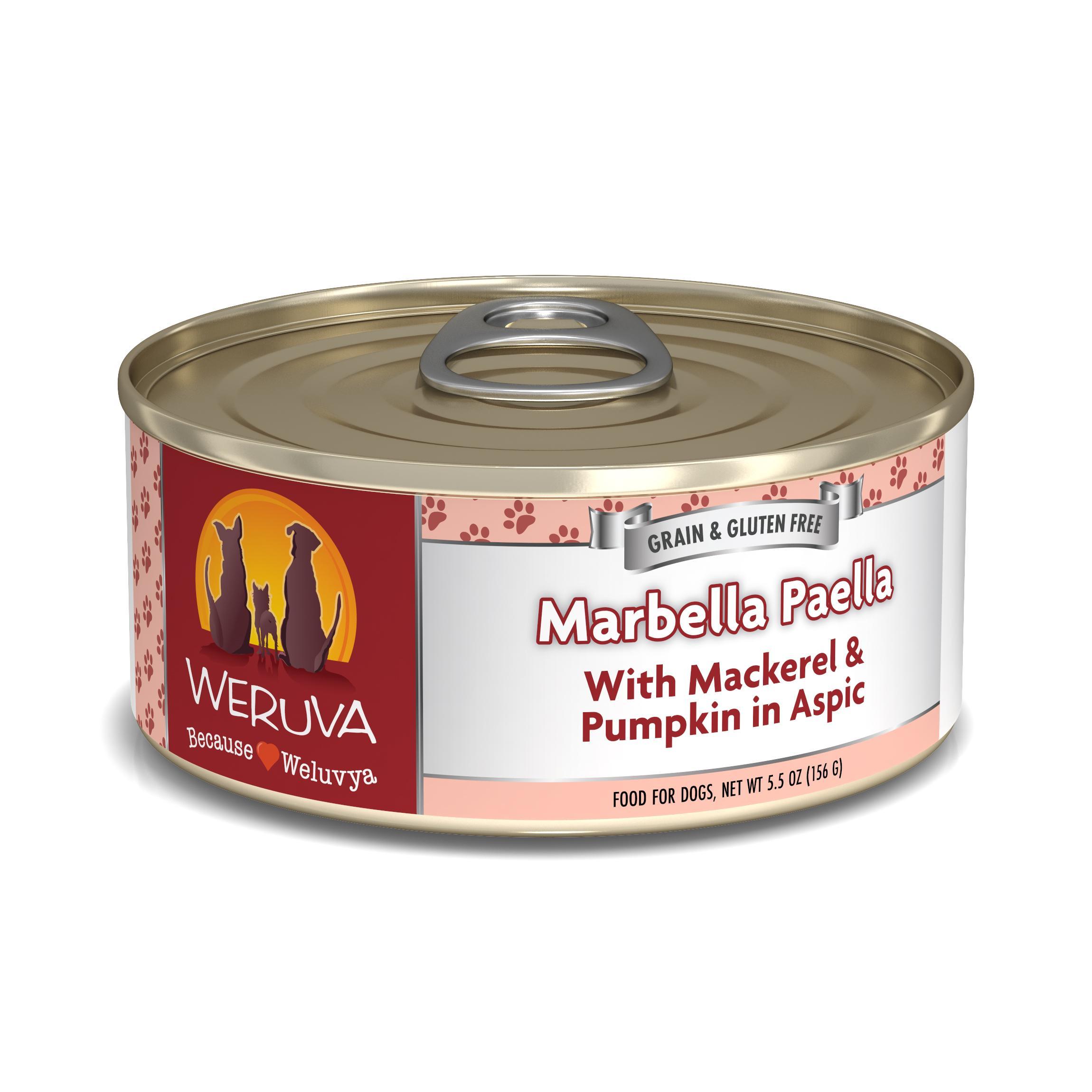Weruva Dog Classic Marbella Paella with Mackerel & Pumpkin in Aspic Grain-Free Wet Dog Food, 5.5-oz