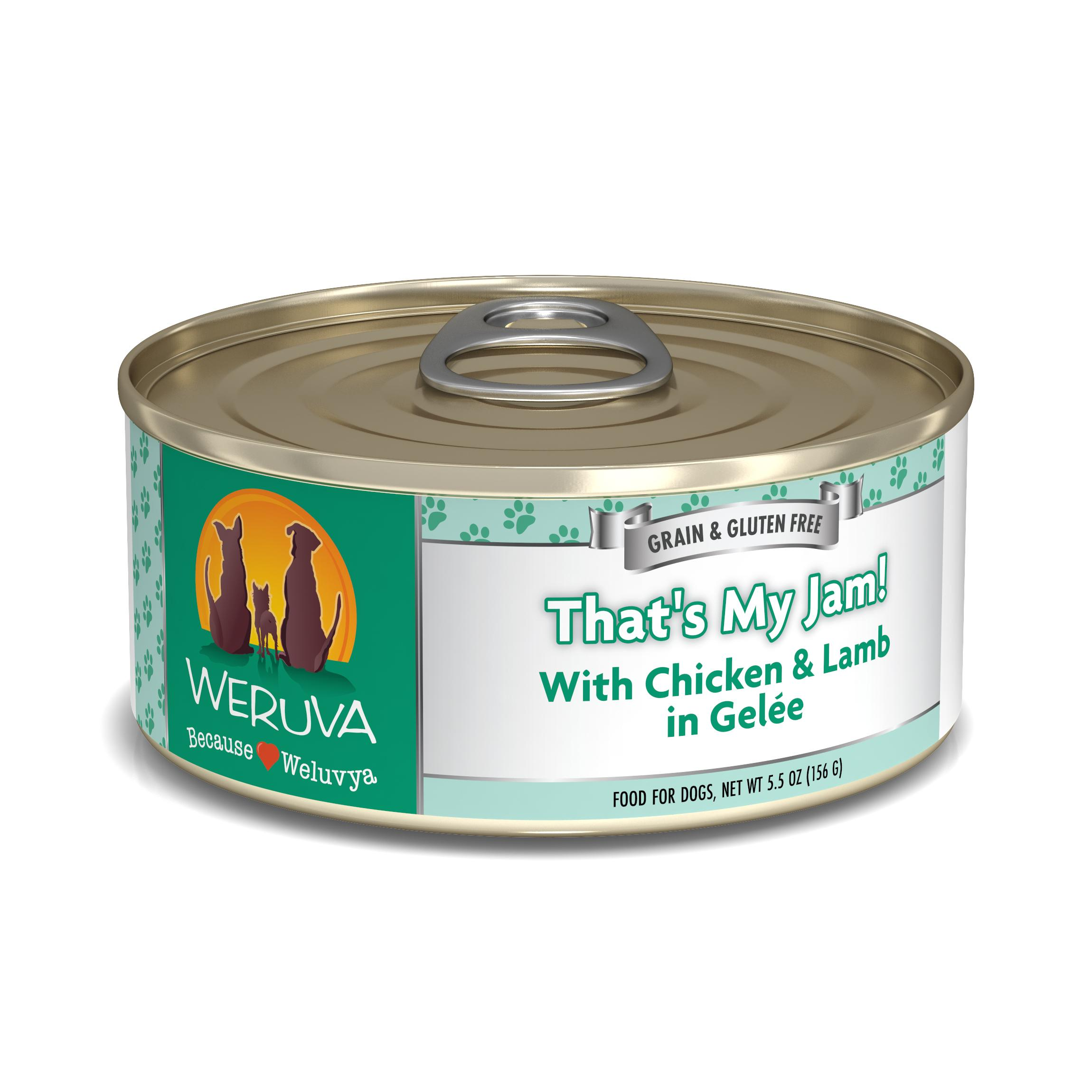 Weruva Dog Classic That's My Jam! With Chicken & Lamb in Gelee Grain-Free Wet Dog Food, 5.5-oz