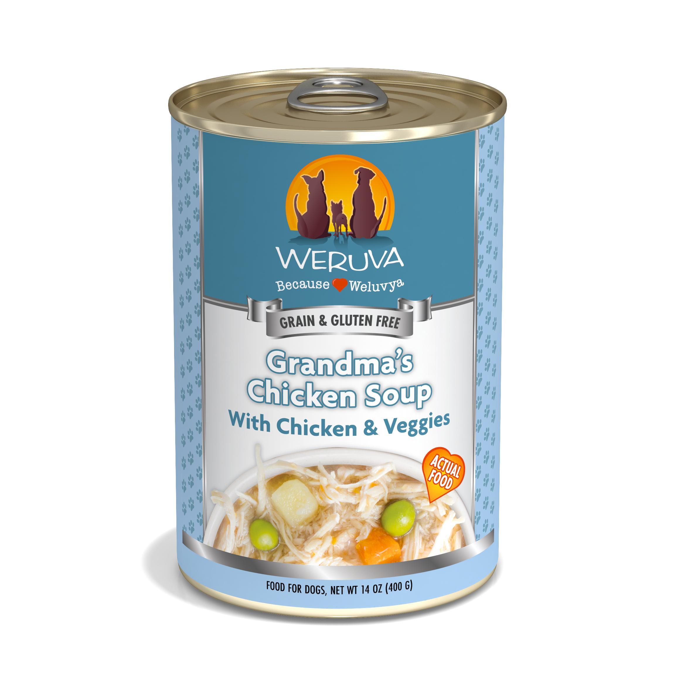Weruva Dog Classic Grandma's Chicken Soup with Chicken& Veggies Grain-Free Wet Dog Food, 14-oz