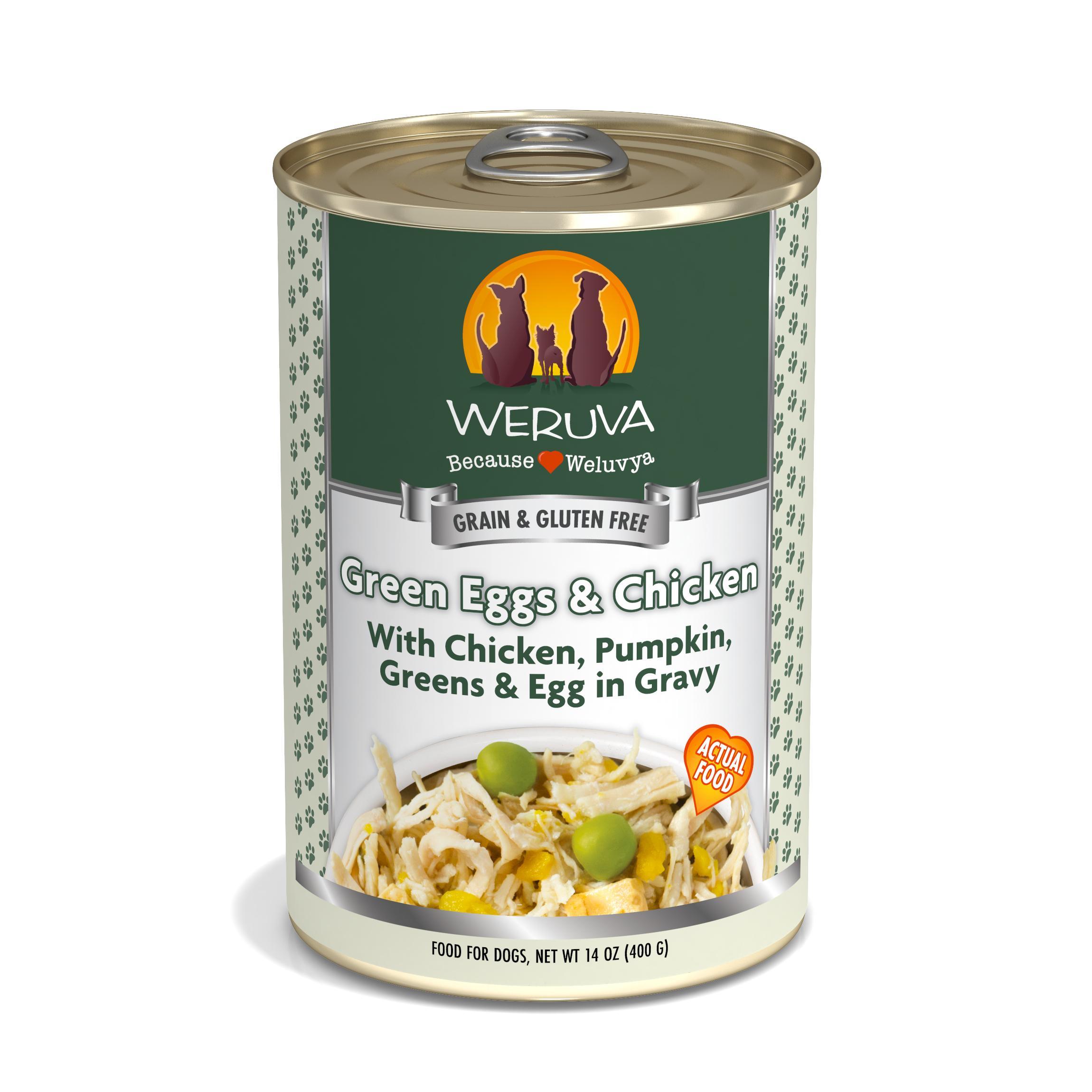 Weruva Dog Classic Green Eggs & Chicken with Chicken, Egg, & Greens in Gravy Grain-Free Wet Dog Food, 14-oz