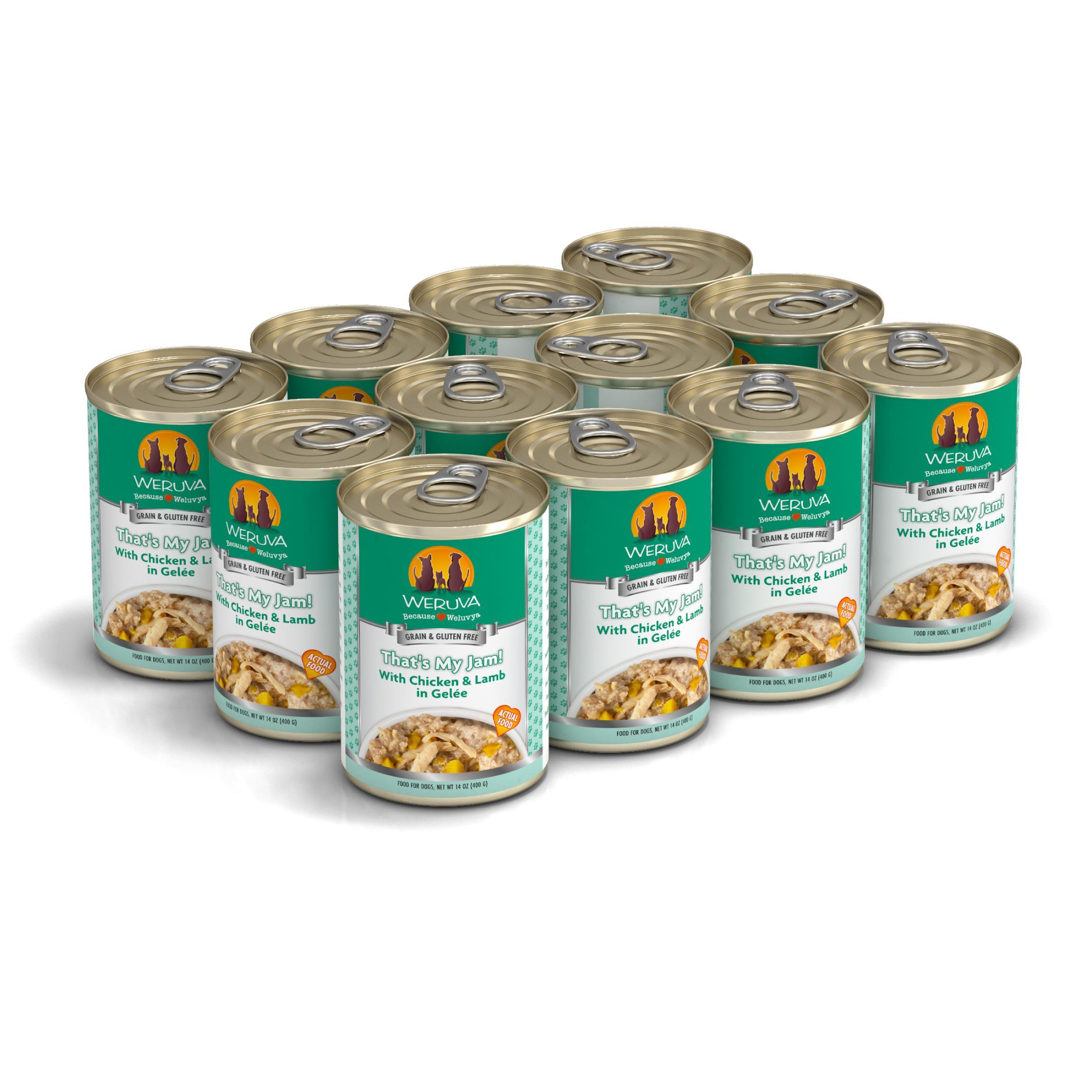 Weruva Dog Classic That's My Jam! With Chicken & Lamb in Gelee Grain-Free Wet Dog Food, 14-oz, case of 12