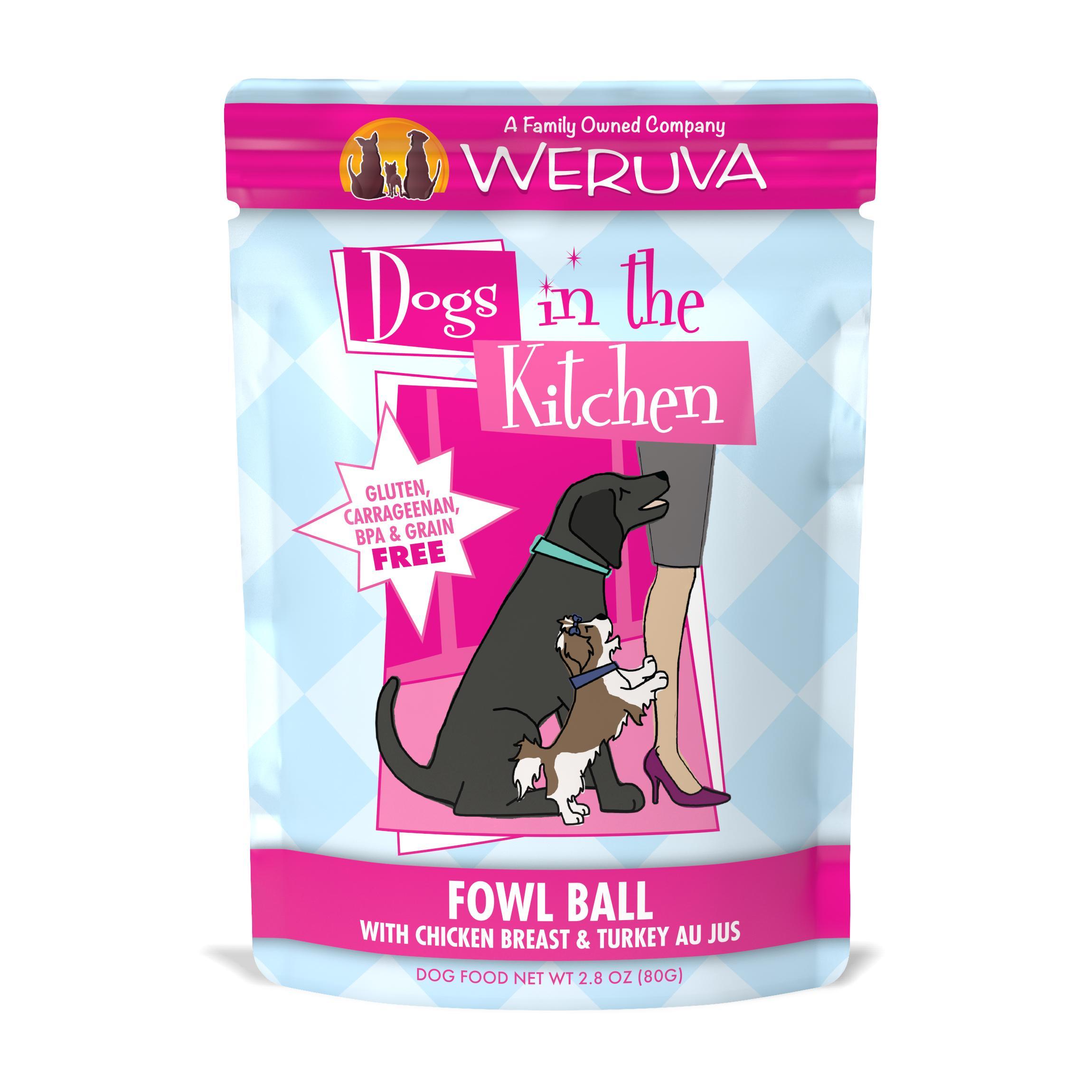 Weruva Dogs in the Kitchen Fowl Ball with Chicken Breast & Turkey Au Jus Grain-Free Wet Dog Food, 2.8-oz