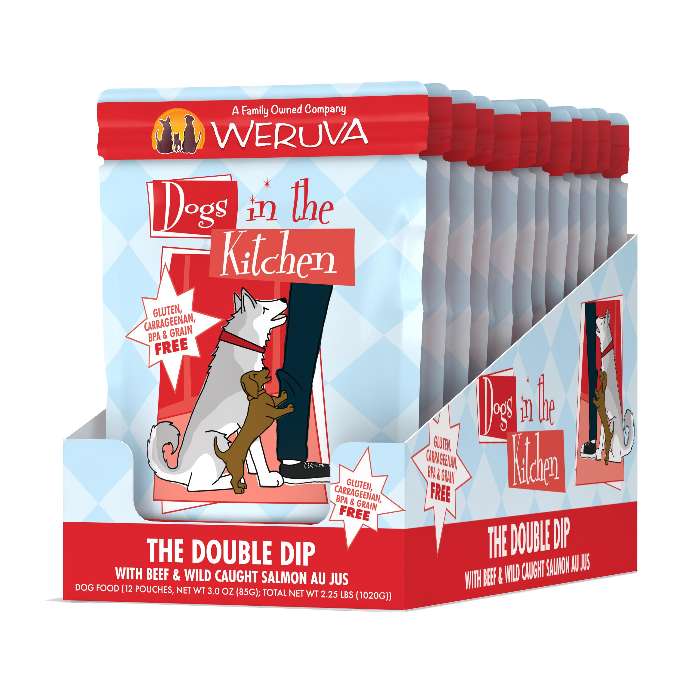 Weruva Dogs in the Kitchen The Double Dip with Beef & Wild Caught Salmon Au Jus Grain-Free Wet Dog Food, 2.8-oz, case of 12
