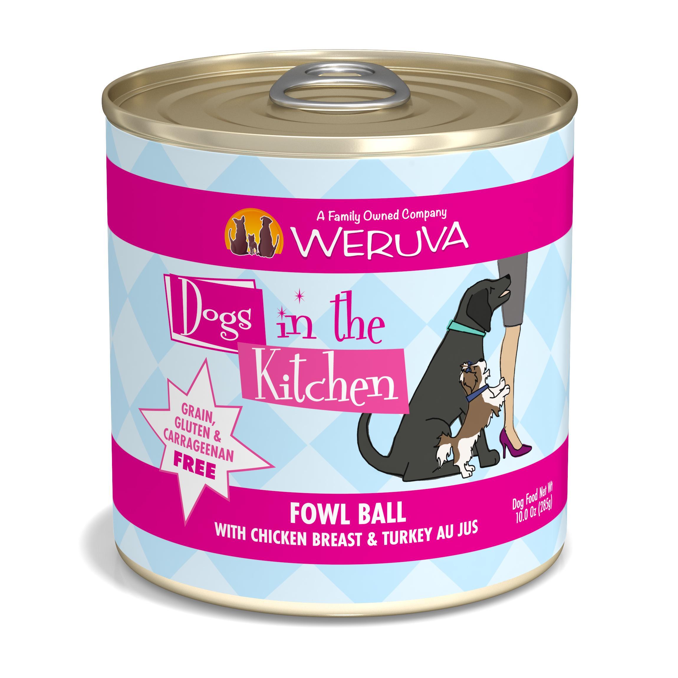 Weruva Dogs in the Kitchen Fowl Ball with Chicken Breast & Turkey Au Jus Grain-Free Wet Dog Food, 10-oz can