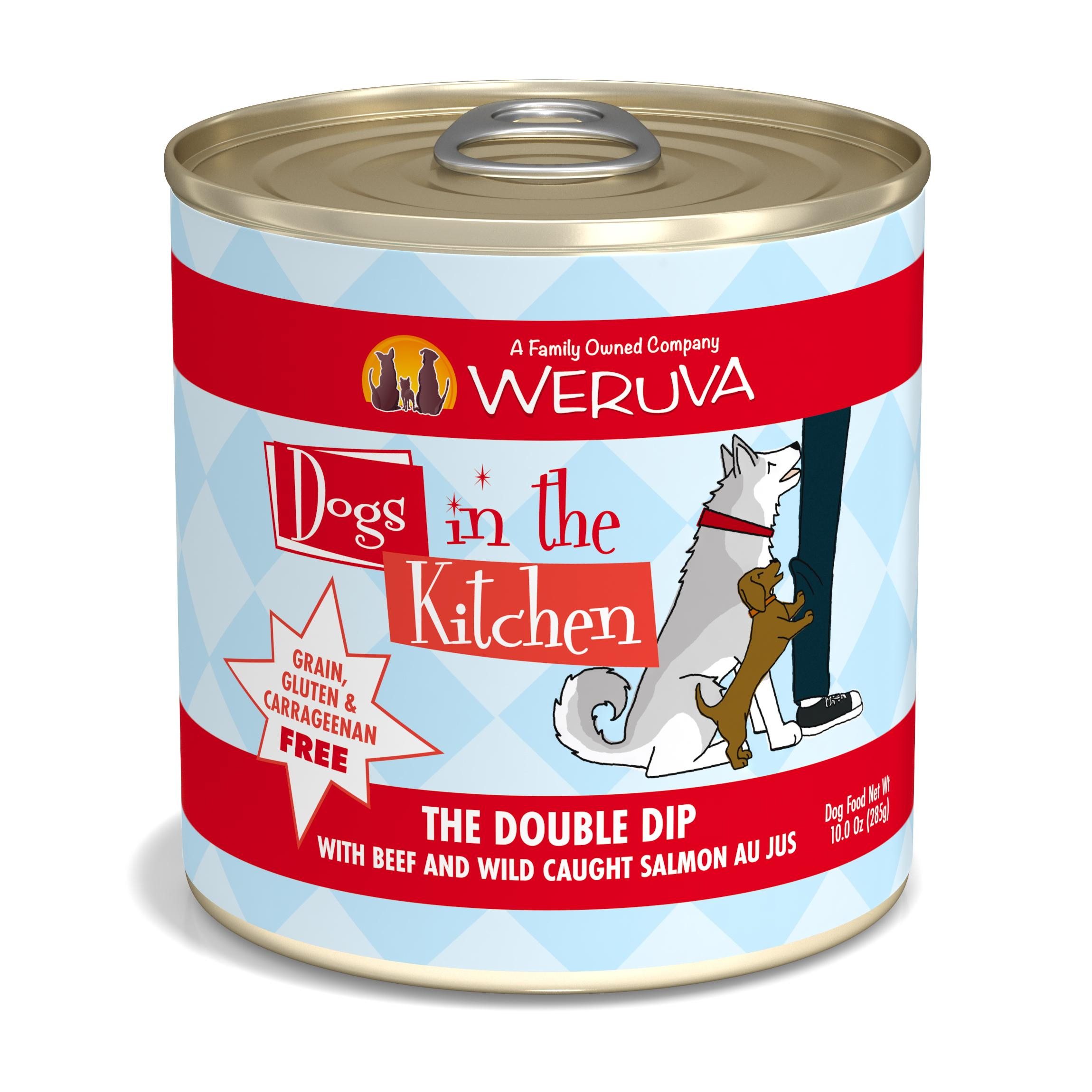 Weruva Dogs in the Kitchen The Double Dip with Beef & Wild Caught Salmon Au Jus Grain-Free Wet Dog Food, 10-oz can
