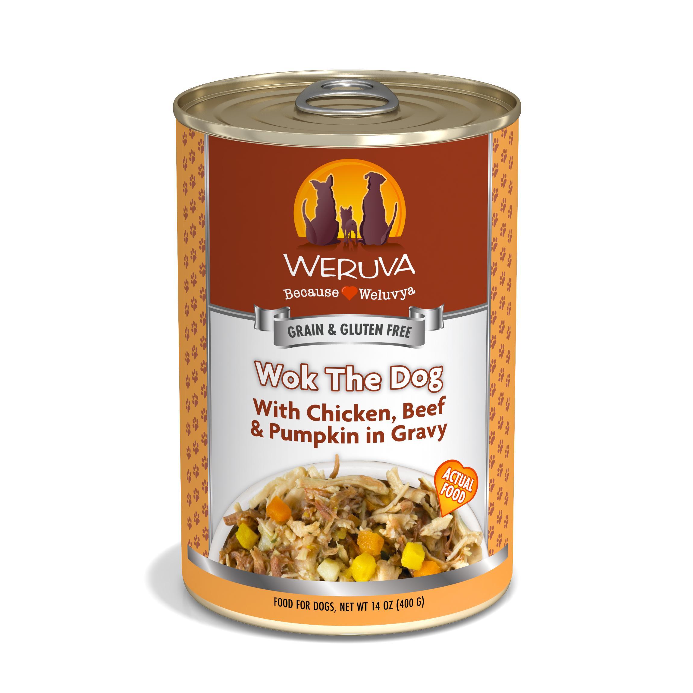 Weruva Dog Classic Wok the Dog with Chicken, Beef & Pumpkin in Gravy Grain-Free Wet Dog Food, 14-oz