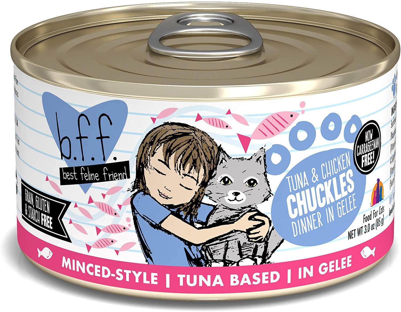 BFF Originals Chuckles Tuna & Chicken Dinner in Gelee Grain-Free Wet Cat Food, 3-oz