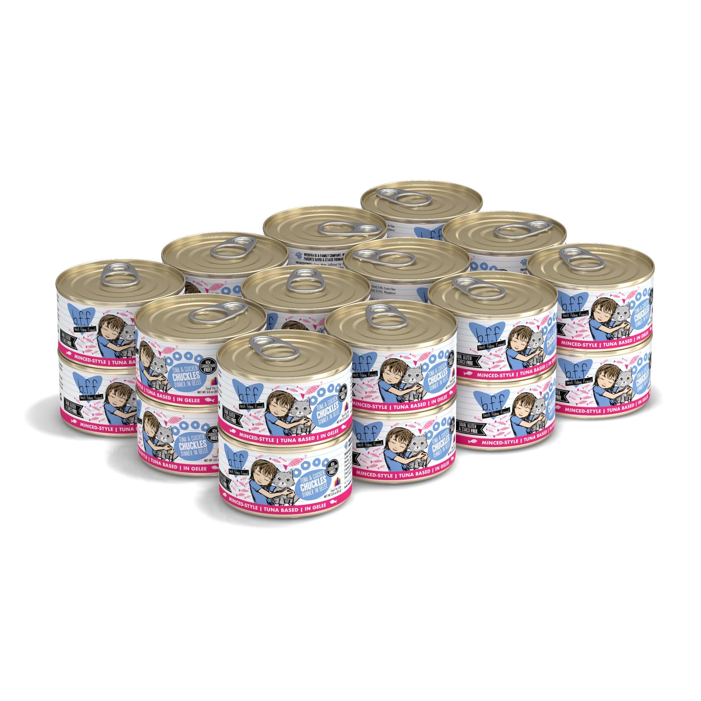 BFF Originals Chuckles Tuna & Chicken Dinner in Gelee Grain-Free Wet Cat Food, 3-oz, case of 24