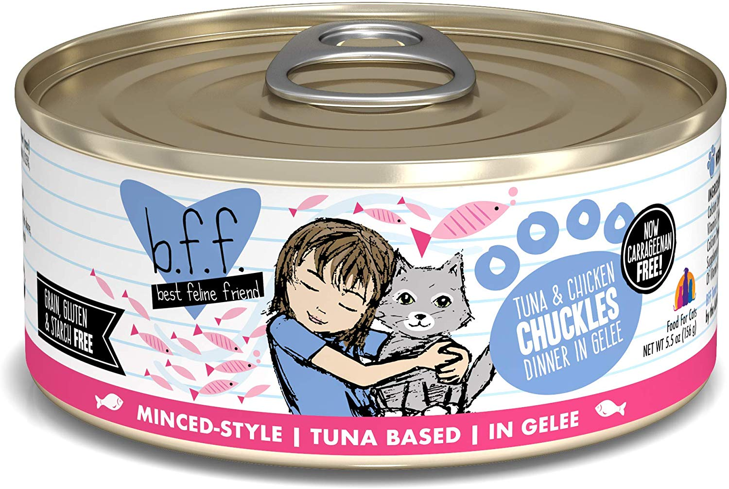 BFF Originals Chuckles Tuna & Chicken Dinner in Gelee Grain-Free Wet Cat Food, 5.5-oz
