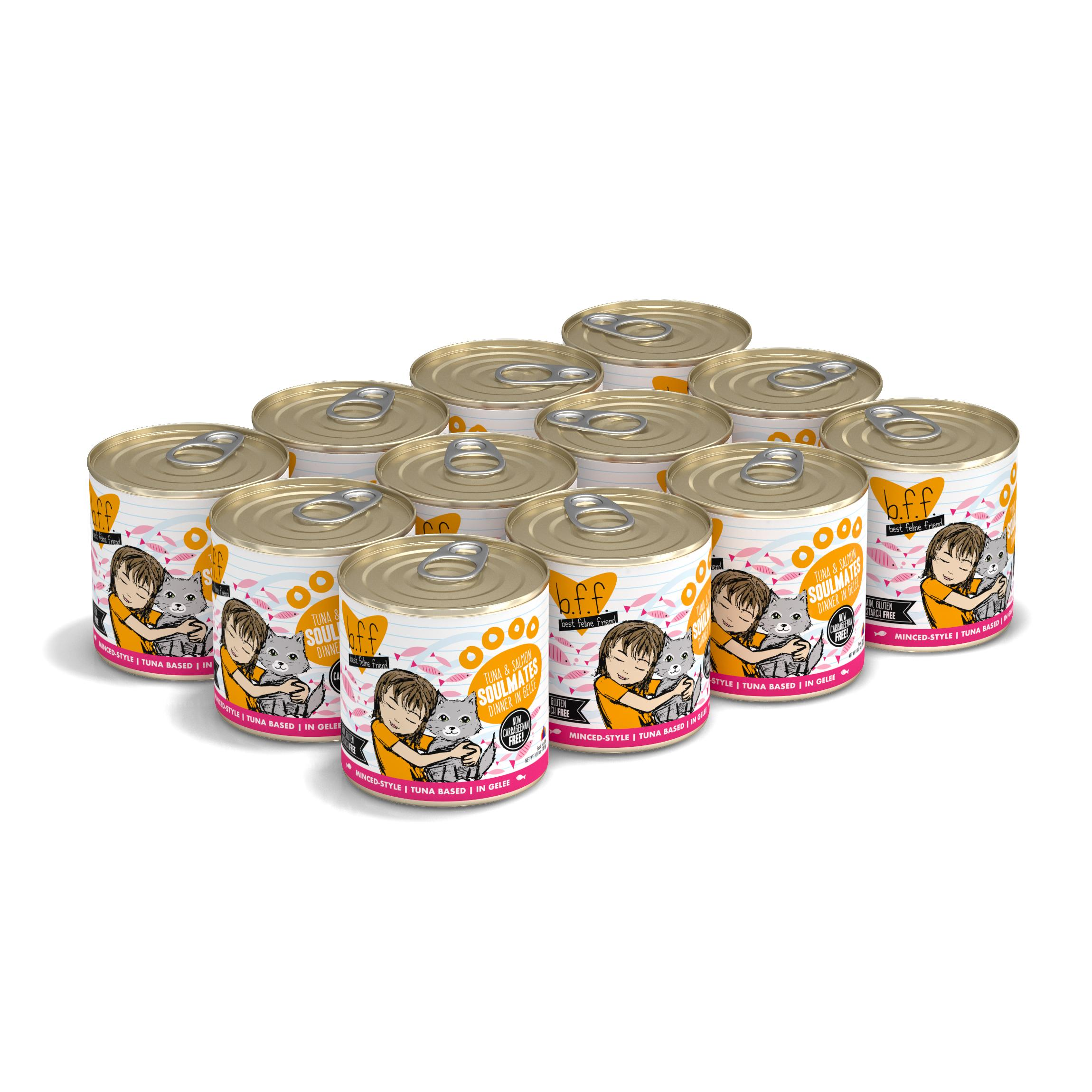 BFF Originals Soulmates Tuna & Salmon Dinner in Gelee Grain-Free Wet Cat Food, 10-oz, tray of 12