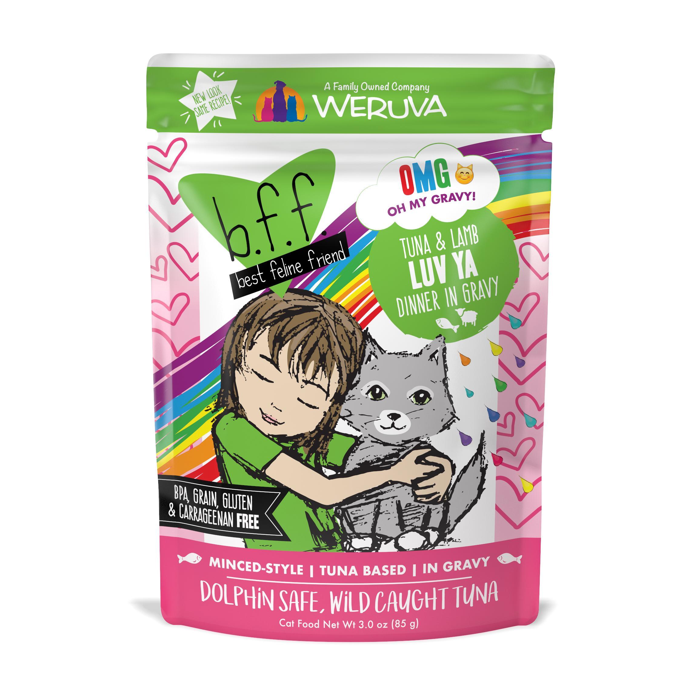 BFF Oh My Gravy! Luv Ya Tuna & Lamb Dinner in Gravy Grain-Free Wet Cat Food, 3-oz