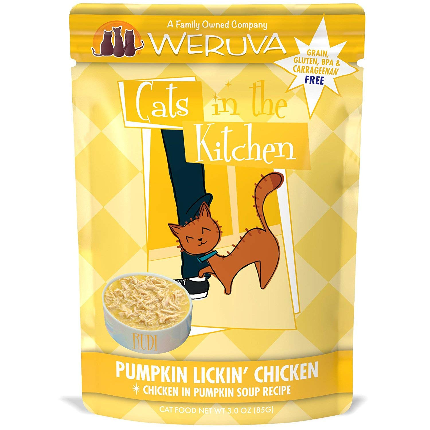 Weruva Cats in the Kitchen Pumpkin Lickin' Chicken in Pumpkin Soup Recipe Grain-Free Wet Cat Food, 3-oz pouch