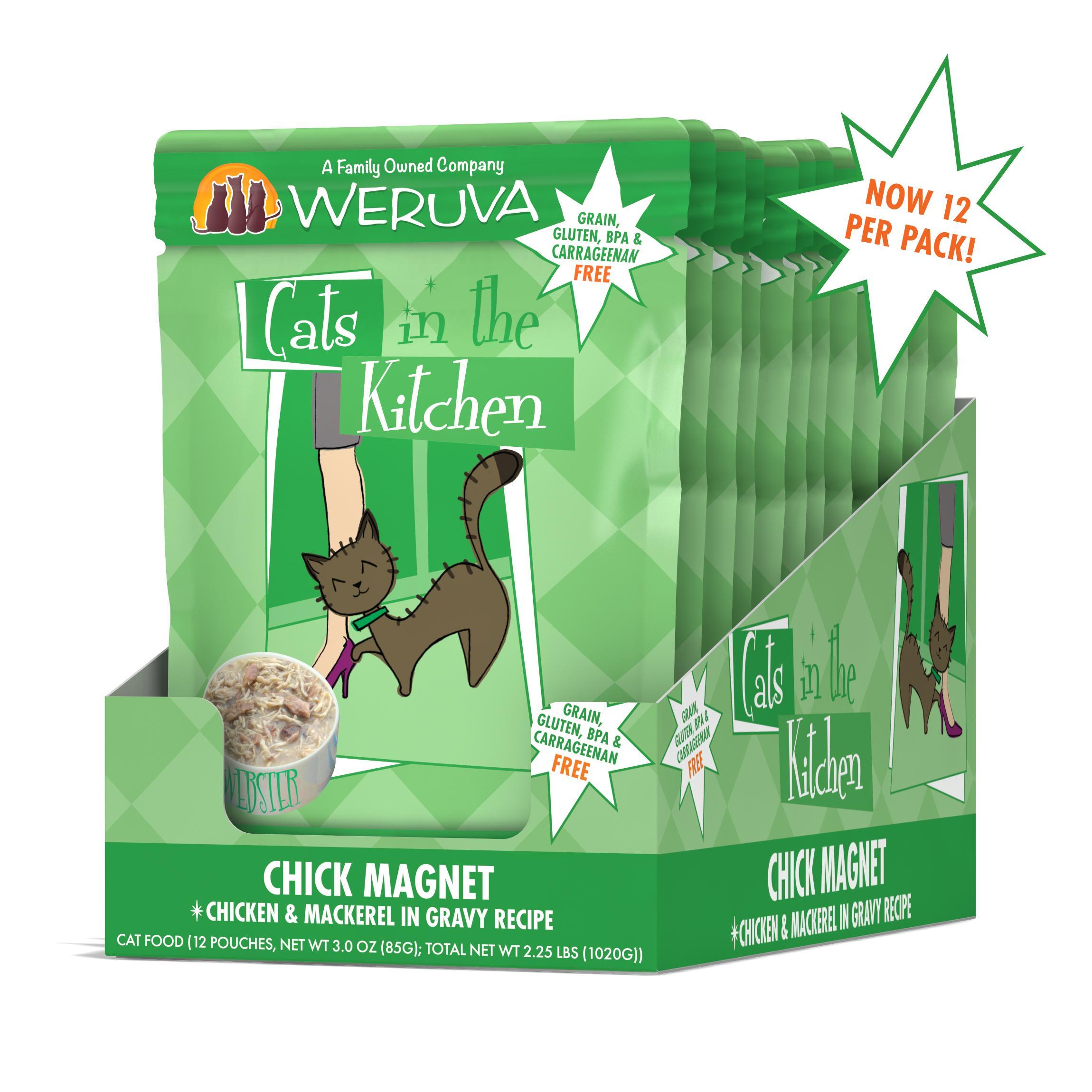 Weruva Cats in the Kitchen Chick Magnet Chicken & Mackerel in Gravy Recipe Grain-Free Wet Cat Food, 3-oz pouch, case of 12