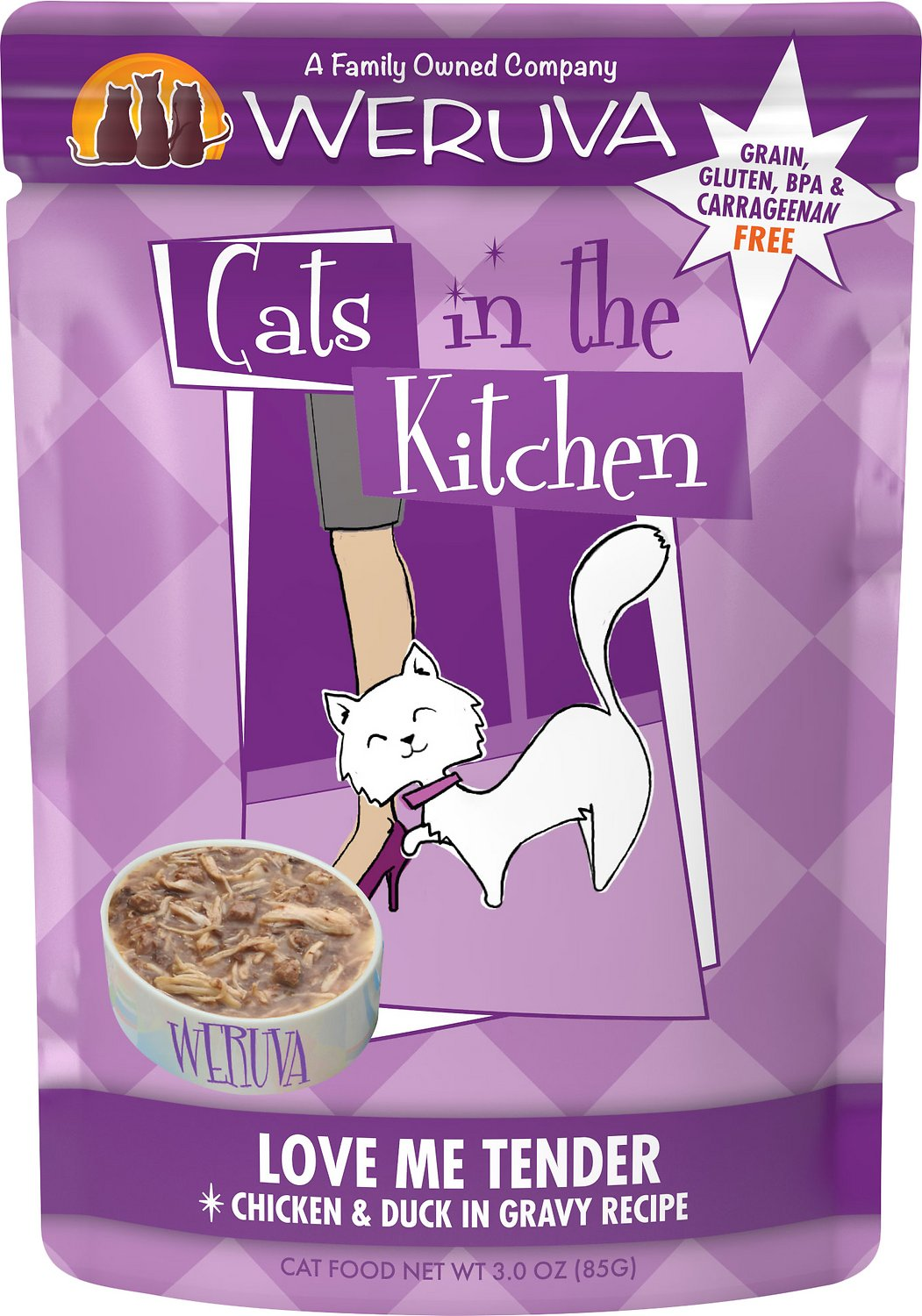 Weruva Cats in the Kitchen Love Me Tender Chicken & Duck in Gravy Recipe Grain-Free Wet Cat Food, 3-oz