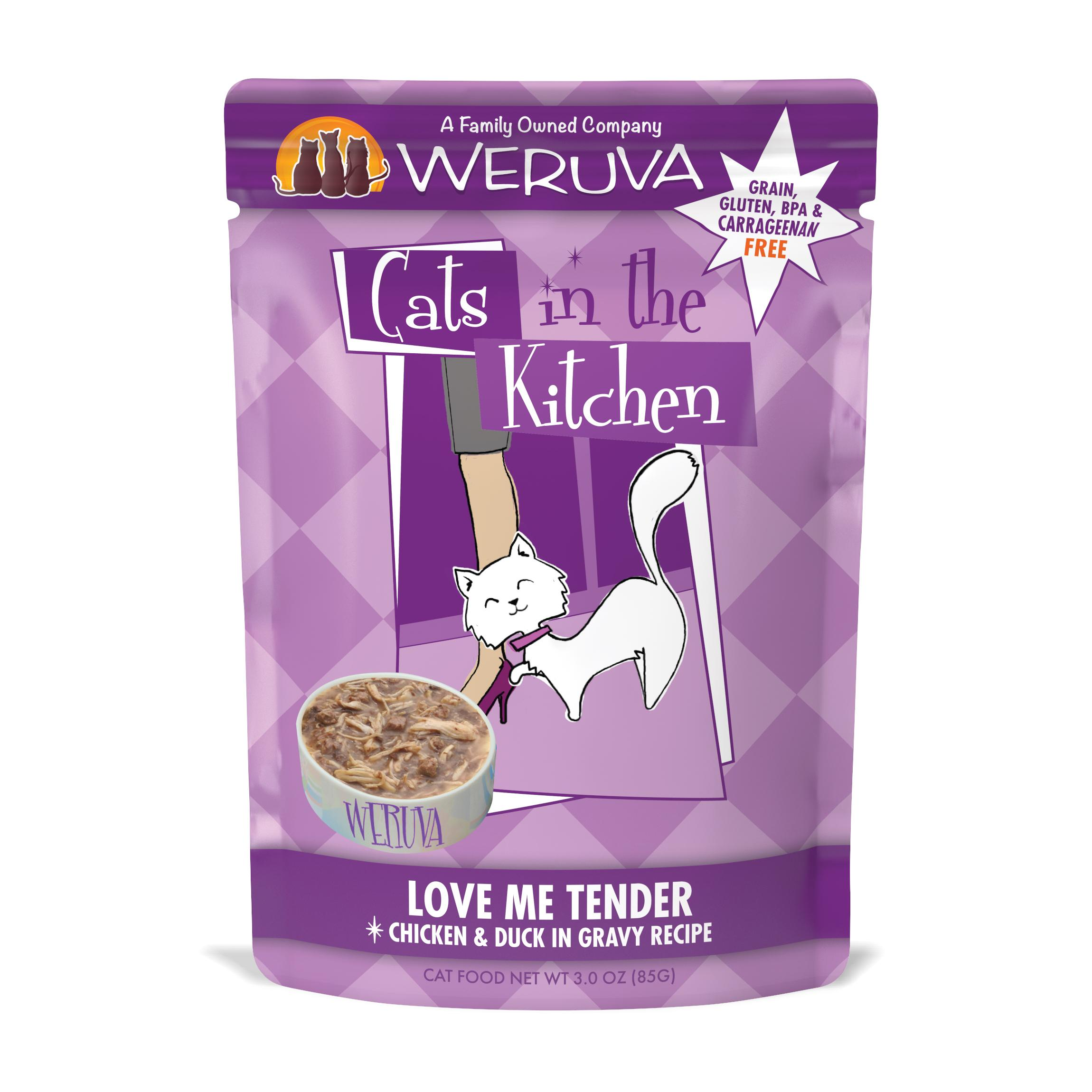 Weruva Cats in the Kitchen Love Me Tender Chicken & Duck in Gravy Recipe Grain-Free Wet Cat Food, 3-oz