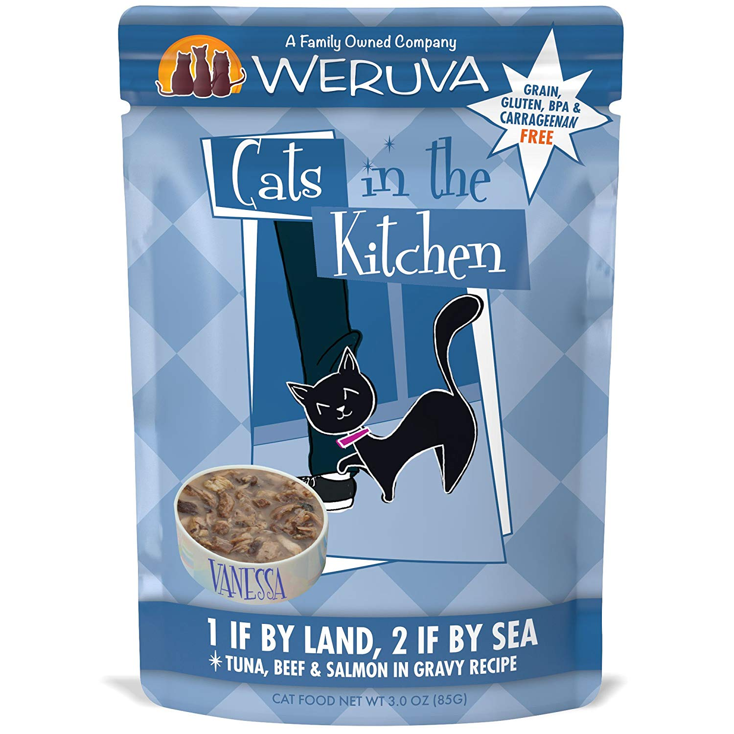 Weruva Cats in the Kitchen 1 If By Land, 2 If By Sea Tuna, Beef & Salmon in Gravy Grain-Free Wet Cat Food, 3-oz