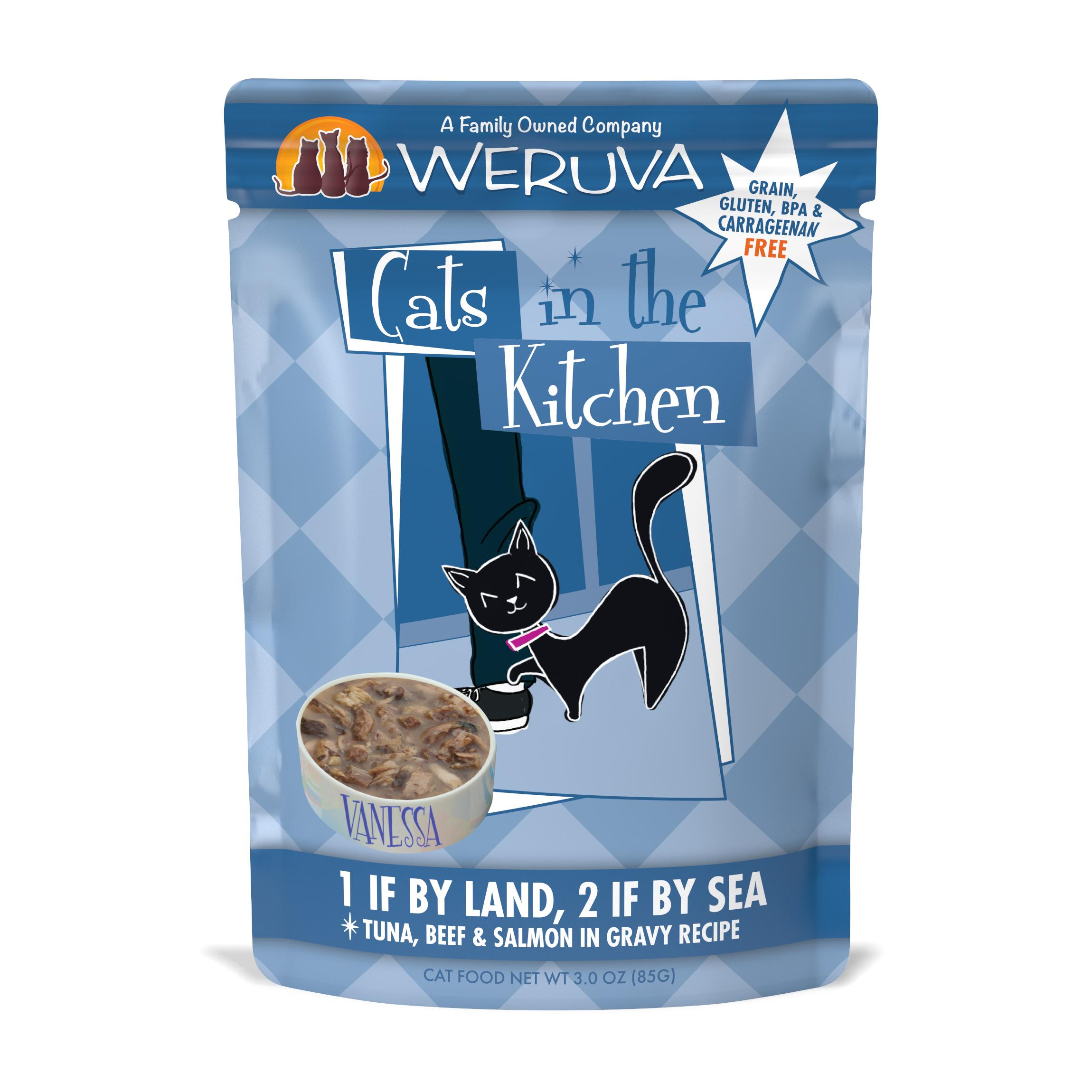 Weruva Cats in the Kitchen 1 If By Land, 2 If By Sea Tuna, Beef & Salmon in Gravy Grain-Free Wet Cat Food Image
