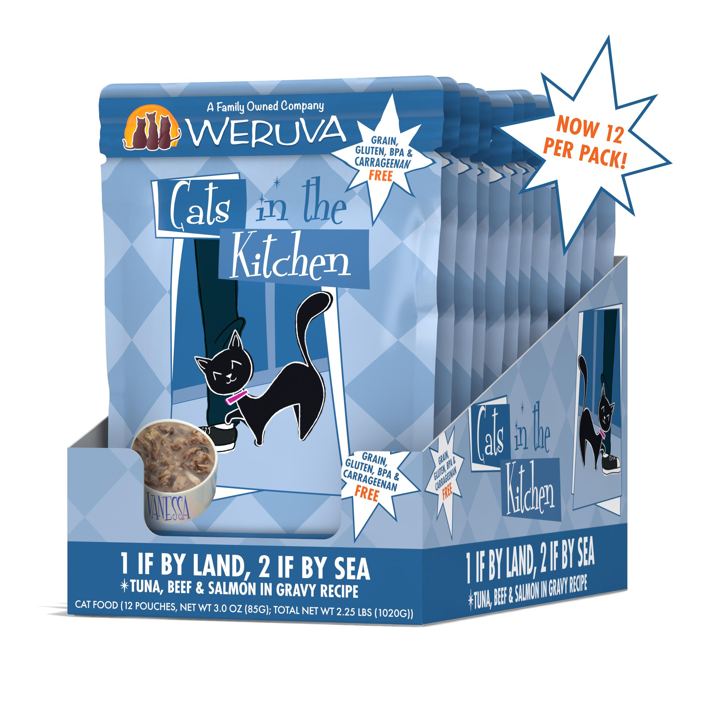 Weruva Cats in the Kitchen 1 If By Land, 2 If By Sea Tuna, Beef & Salmon in Gravy Grain-Free Wet Cat Food, 3-oz, case of 12