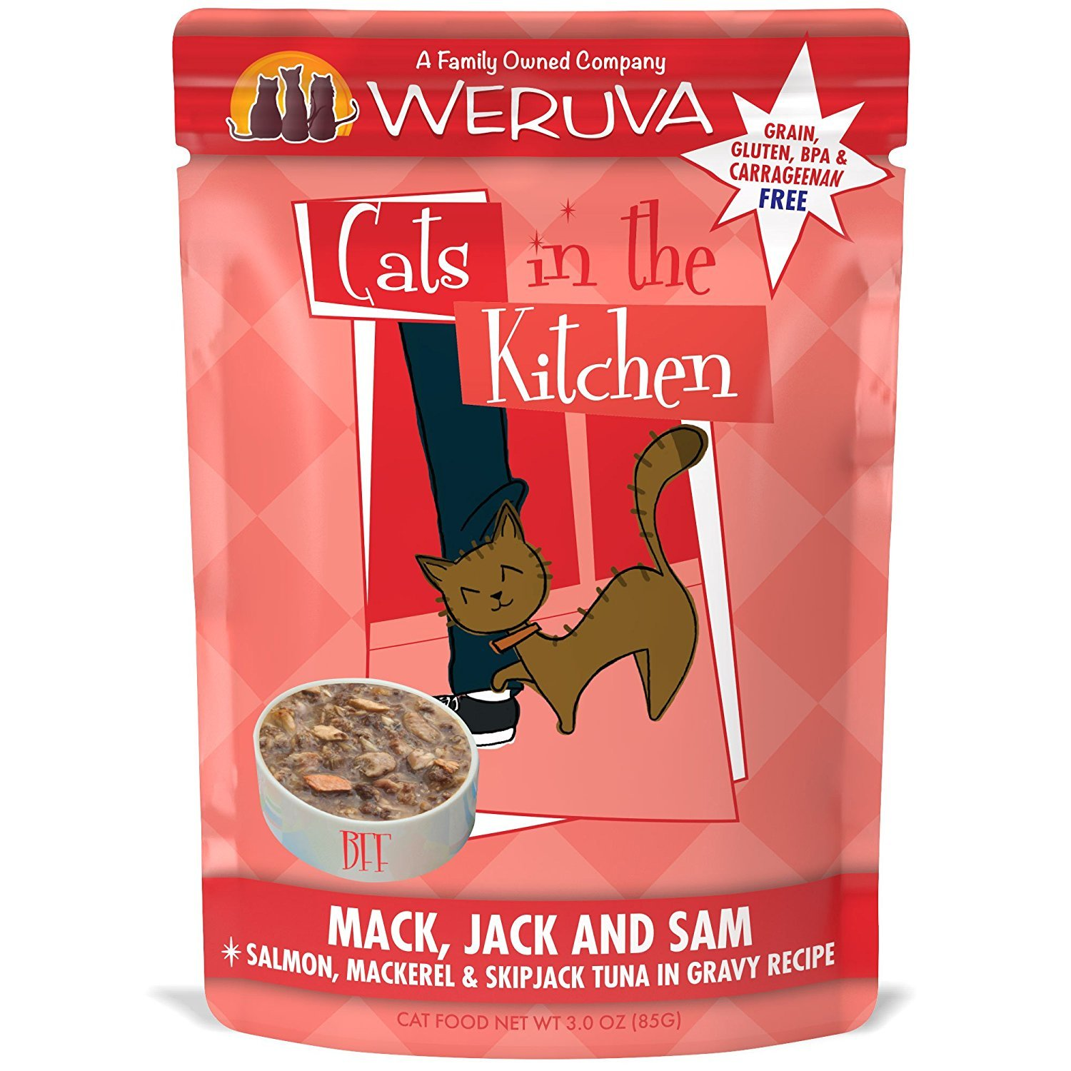 Weruva Cats in the Kitchen Mack, Jack & Sam Salmon, Mackerel & Skip Jack Tuna in Gravy, Grain-Free Wet Cat Food, 3-oz