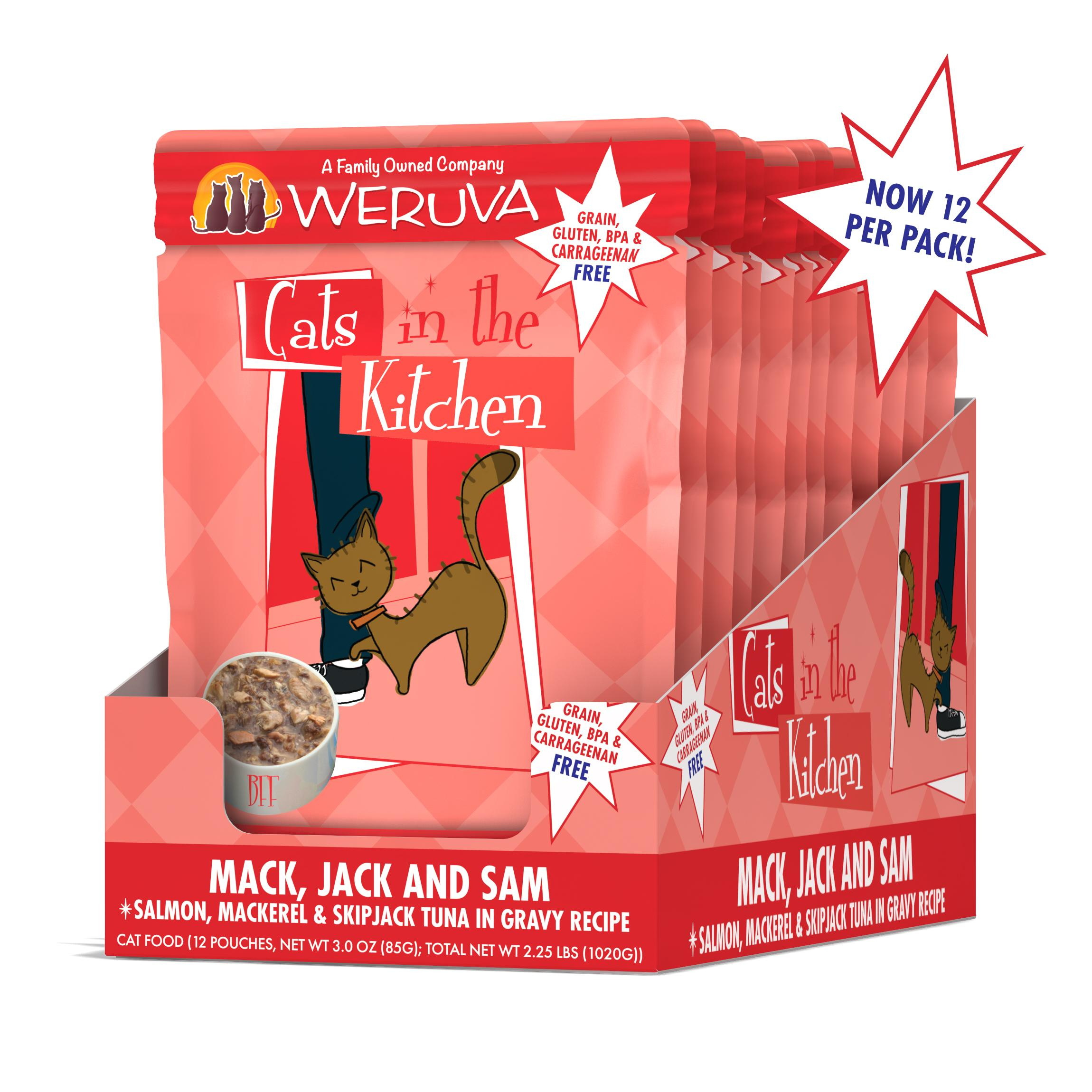 Weruva Cats in the Kitchen Mack, Jack & Sam Salmon, Mackerel & Skip Jack Tuna in Gravy, Grain-Free Wet Cat Food, 3-oz, case of 12