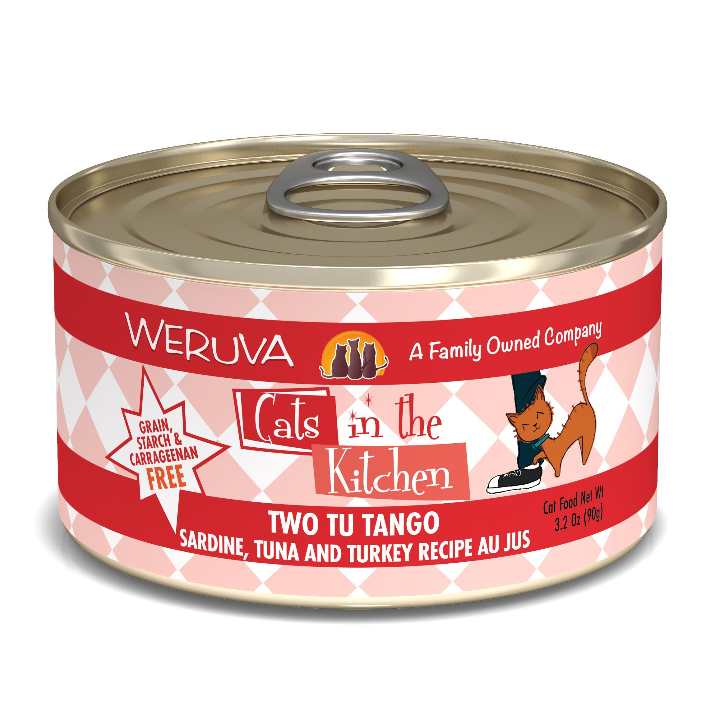 Weruva Cats in the Kitchen Two Tu Tango Sardine, Tuna & Turkey Au Jus Grain-Free Wet Cat Food, 3.2-oz
