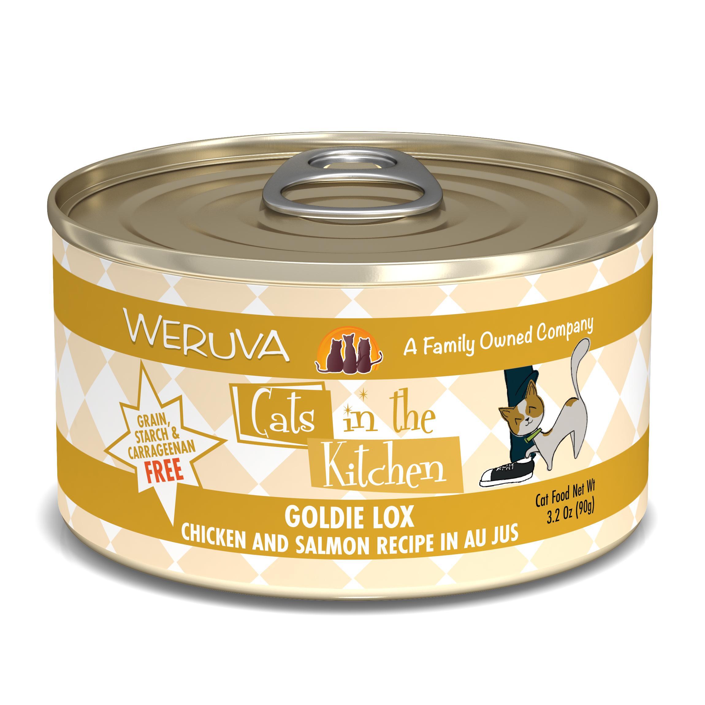 Weruva Cats in the Kitchen Goldie Lox Chicken & Salmon Au Jus Grain-Free Wet Cat Food, 3.2-oz