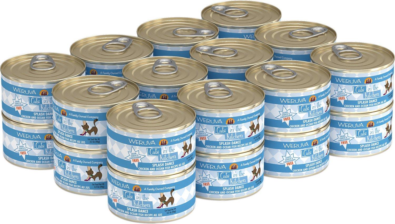 Weruva Cats in the Kitchen Splash Dance Chicken & Ocean Fish Au Jus Grain-Free Wet Cat Food, 3.2-oz, case of 24