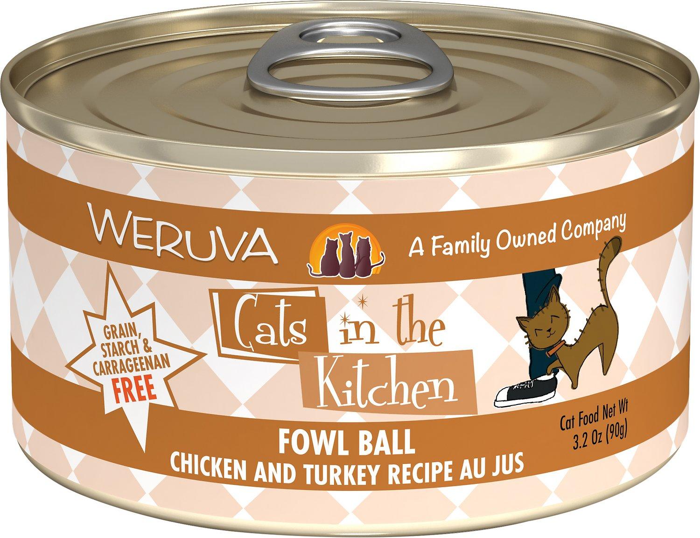 Weruva Cats in the Kitchen Fowl Ball Chicken & Turkey Au Jus Grain-Free Wet Cat Food, 3.2-oz