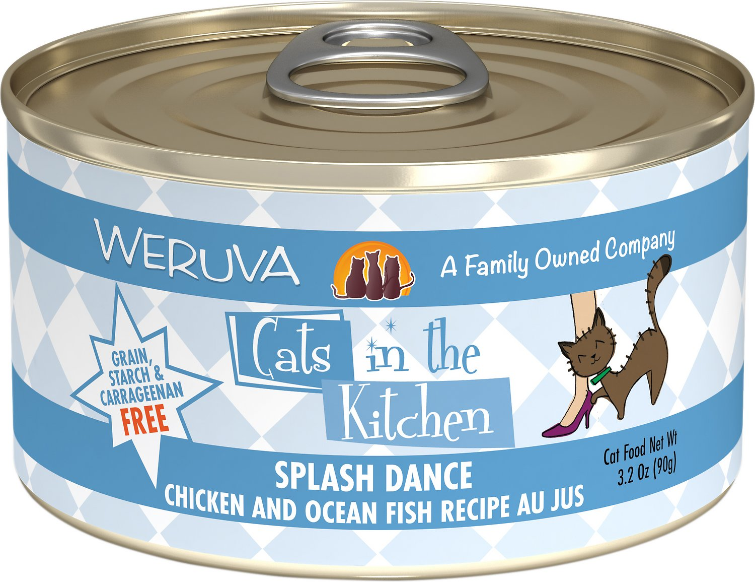 Weruva Cats in the Kitchen Splash Dance Chicken & Ocean Fish Au Jus Grain-Free Wet Cat Food, 3.2-oz