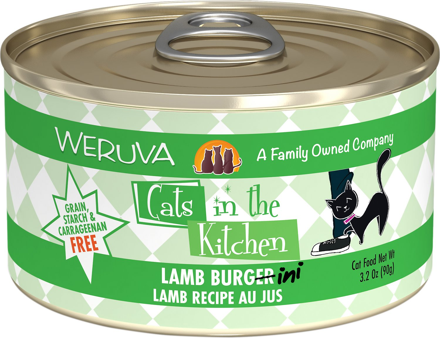 Weruva Cats in the Kitchen Lamb Burgini Lamb Au Jus Grain-Free Wet Cat Food, 3.2-oz