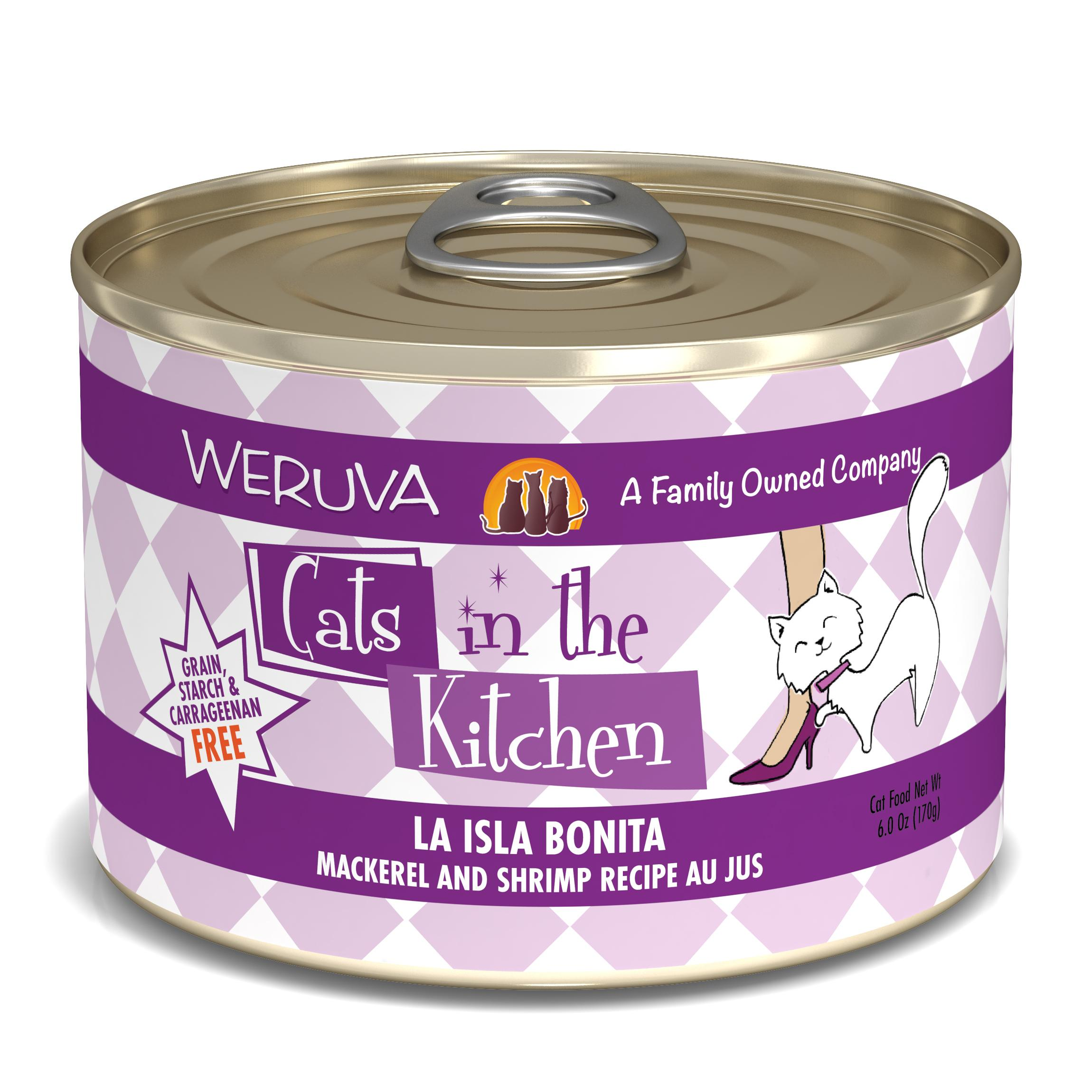 Weruva Cats in the Kitchen La Isla Bonita Mackerel & Shrimp Au Jus Grain-Free Wet Cat Food, 6-oz