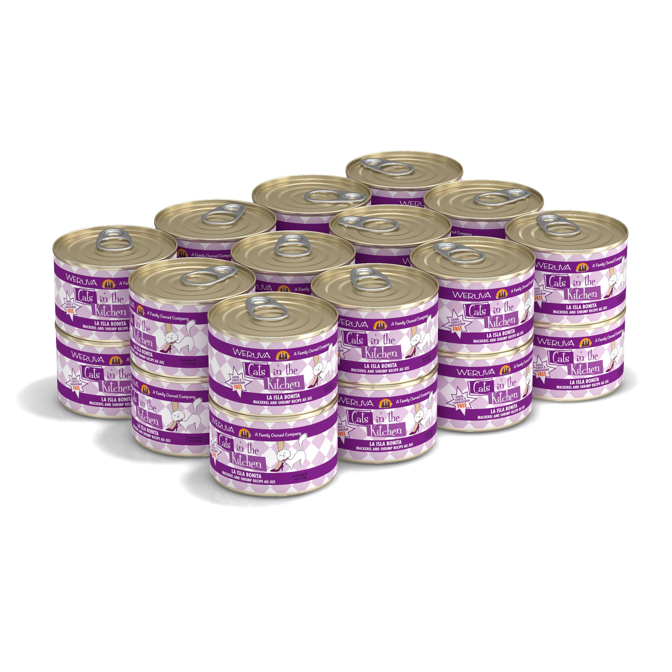 Weruva Cats in the Kitchen La Isla Bonita Mackerel & Shrimp Au Jus Grain-Free Wet Cat Food, 6-oz, case of 24