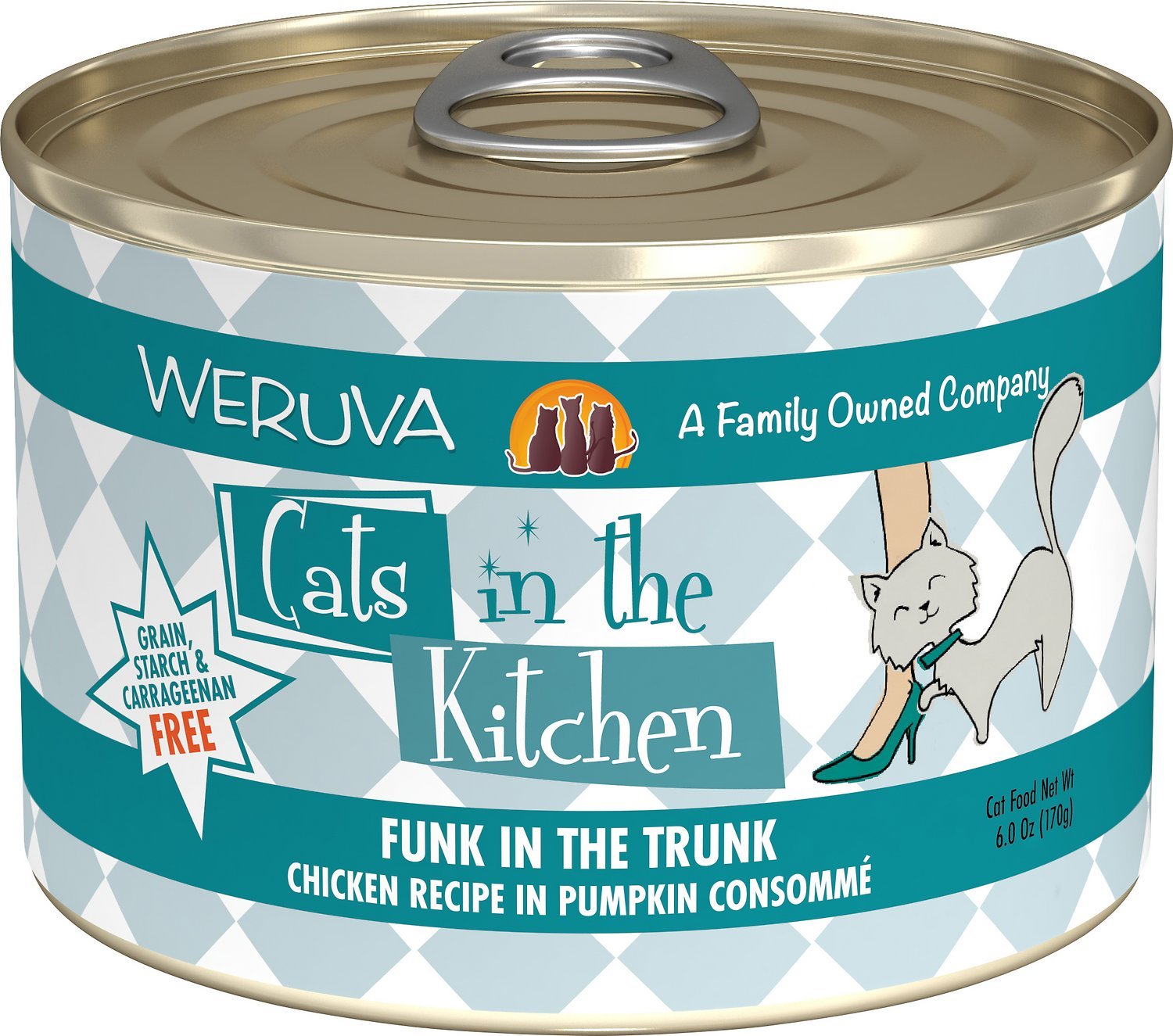 Weruva Cats in the Kitchen Funk In The Trunk Chicken in Pumpkin Consomme Grain-Free Wet Cat Food, 6-oz
