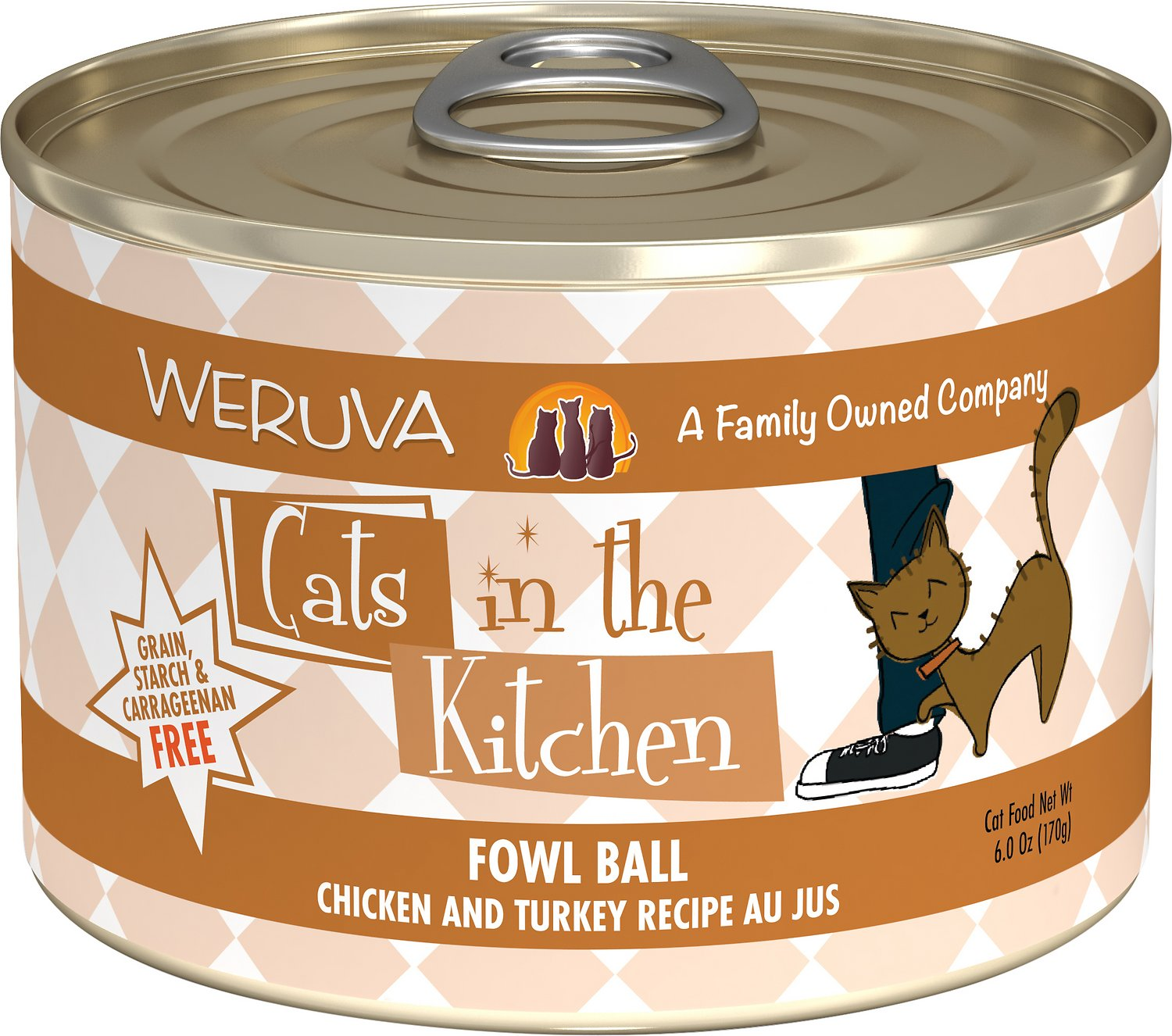 Weruva Cats in the Kitchen Fowl Ball Chicken & Turkey Au Jus Grain-Free Wet Cat Food, 6-oz